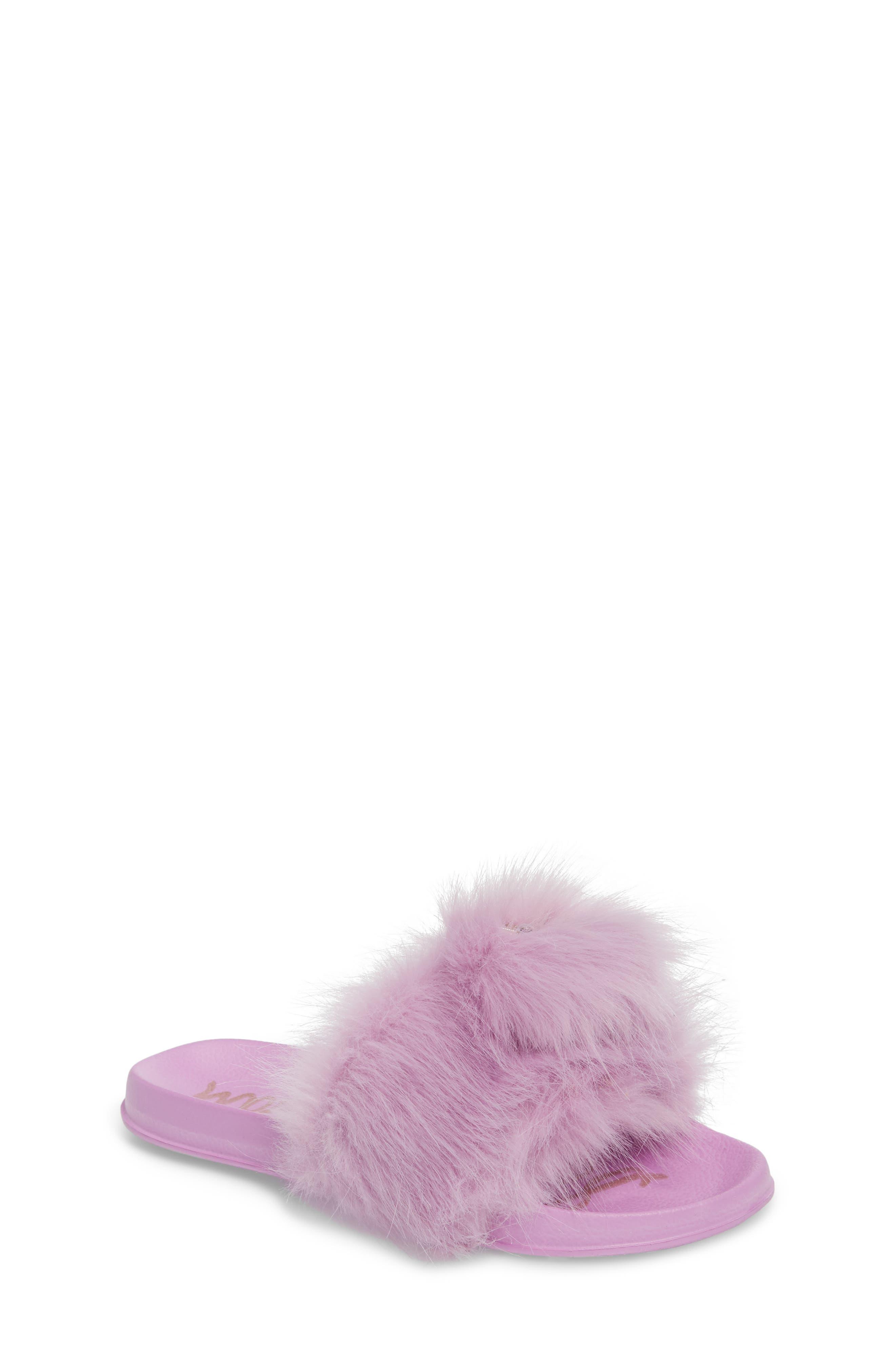 Mackie Aster Faux Fur Slide Sandal,                             Main thumbnail 1, color,                             Lavender Faux Fur