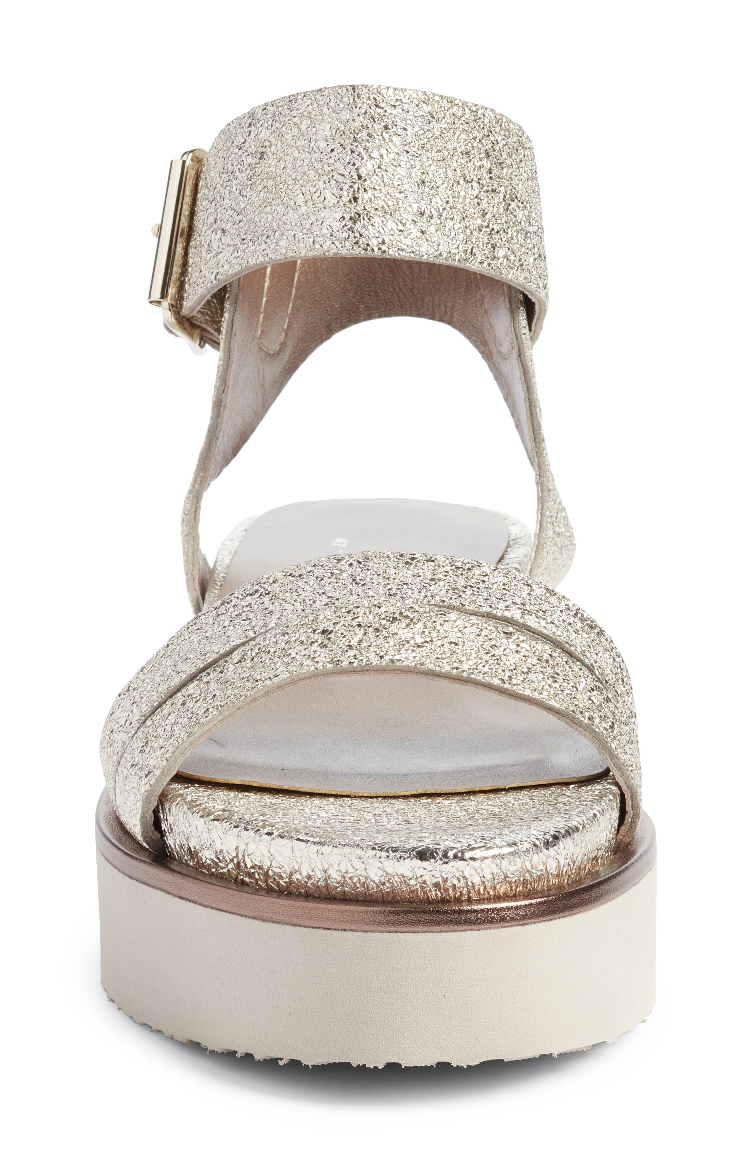 Ankle Strap Sandal,                             Alternate thumbnail 4, color,                             Golden Leather