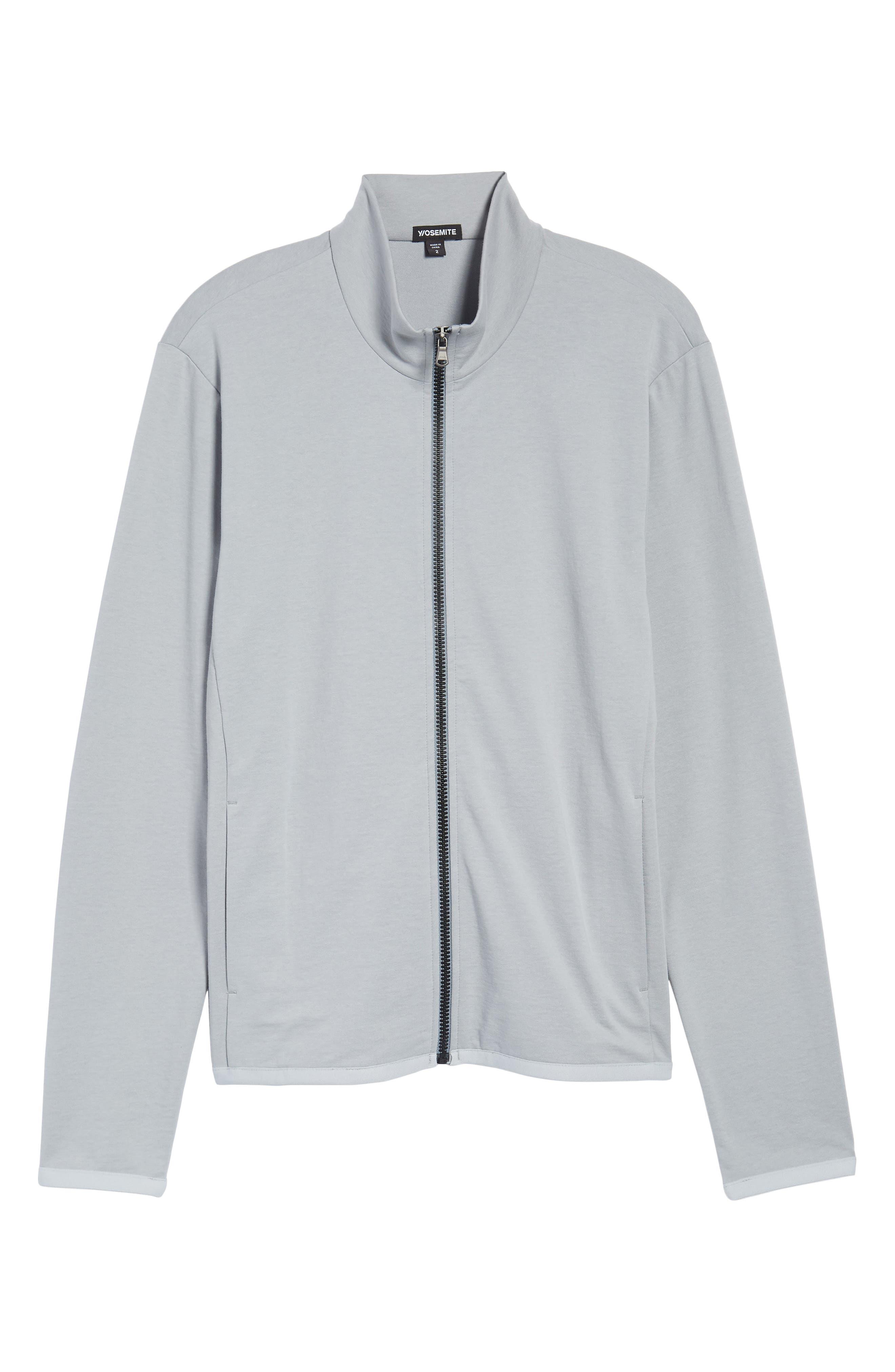 Slim Fit Compact Terry Zip Jacket,                             Alternate thumbnail 6, color,                             Grey Sky/ Light Grey