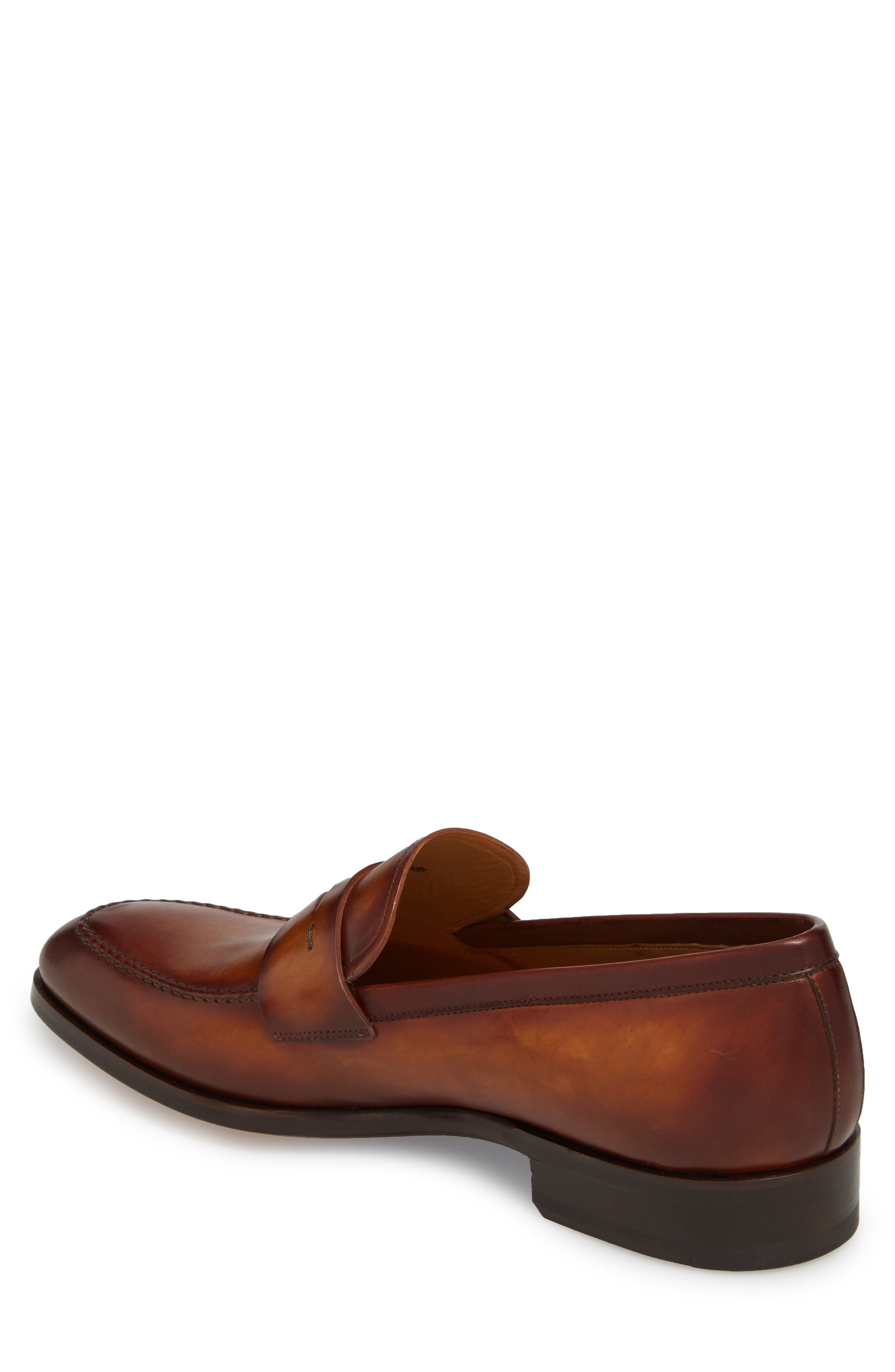 Rolly Apron Toe Penny Loafer,                             Alternate thumbnail 2, color,                             Brown Leather