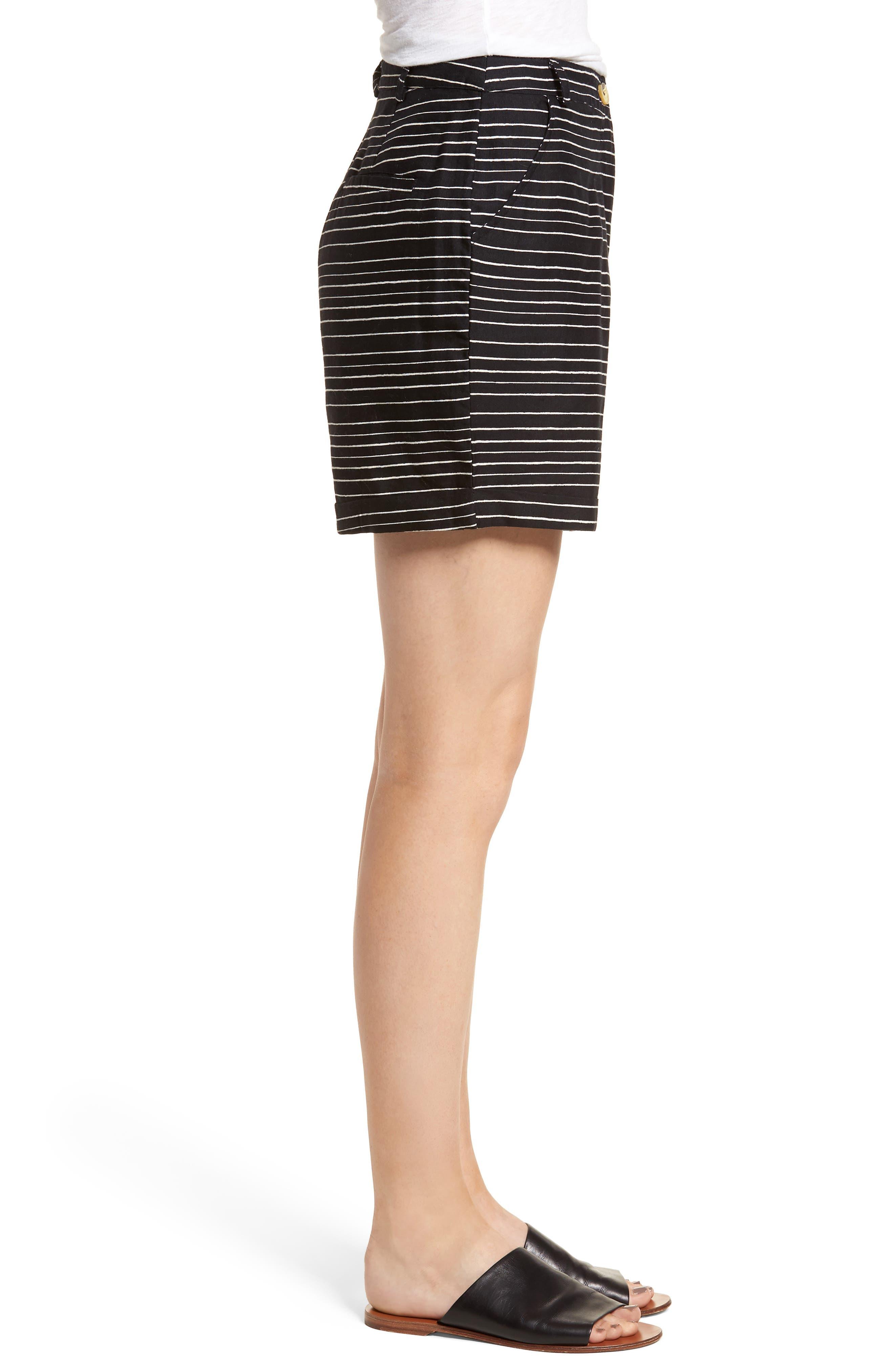 Pin-Up Linen Blend Shorts,                             Alternate thumbnail 3, color,                             Black
