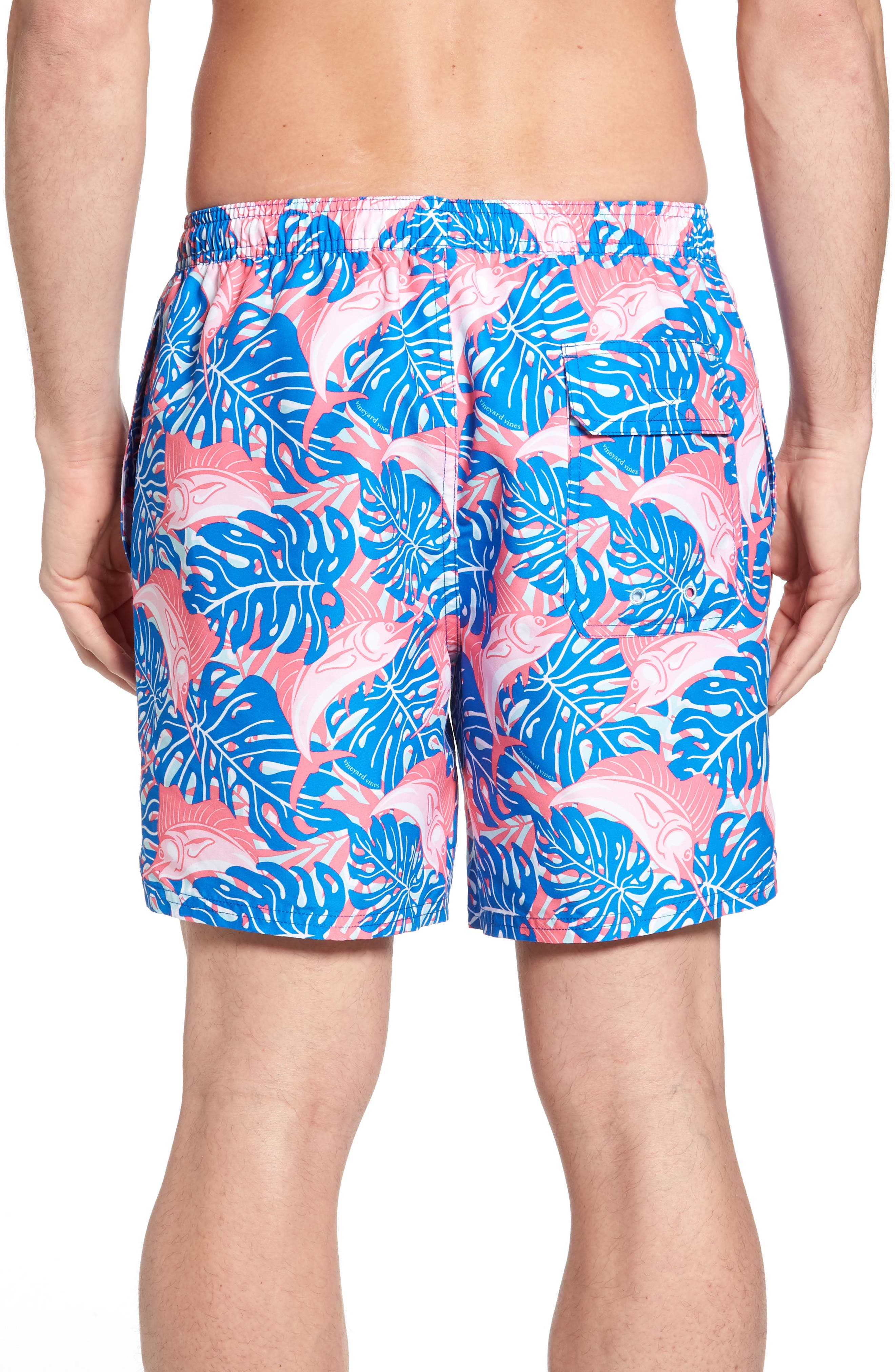 Sailfish & Leaves Chappy Swim Trunks,                             Alternate thumbnail 2, color,                             Azure Blue