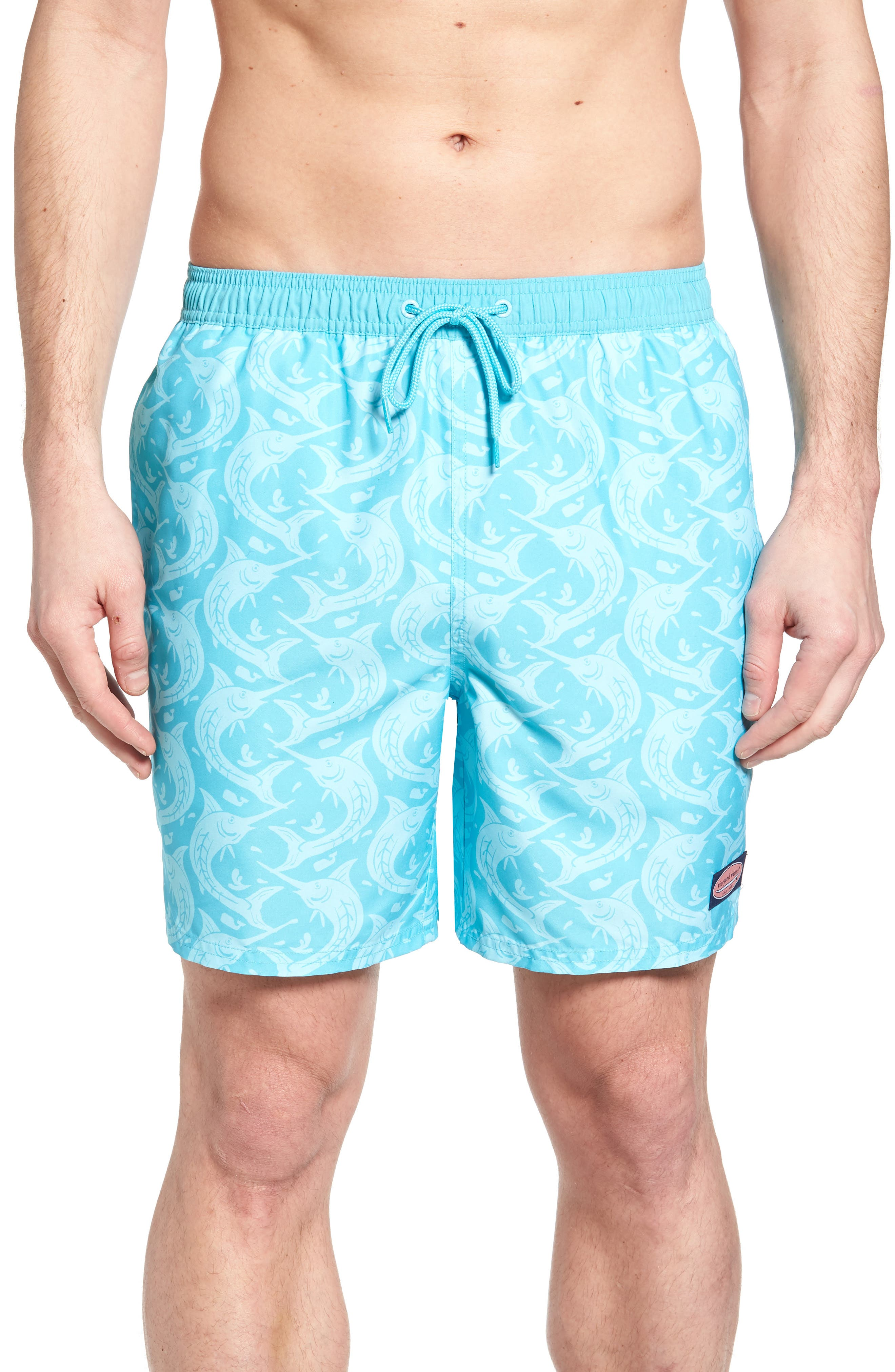 Marlin Out of Water Chappy Swim Trunks,                             Main thumbnail 1, color,                             Turquoise