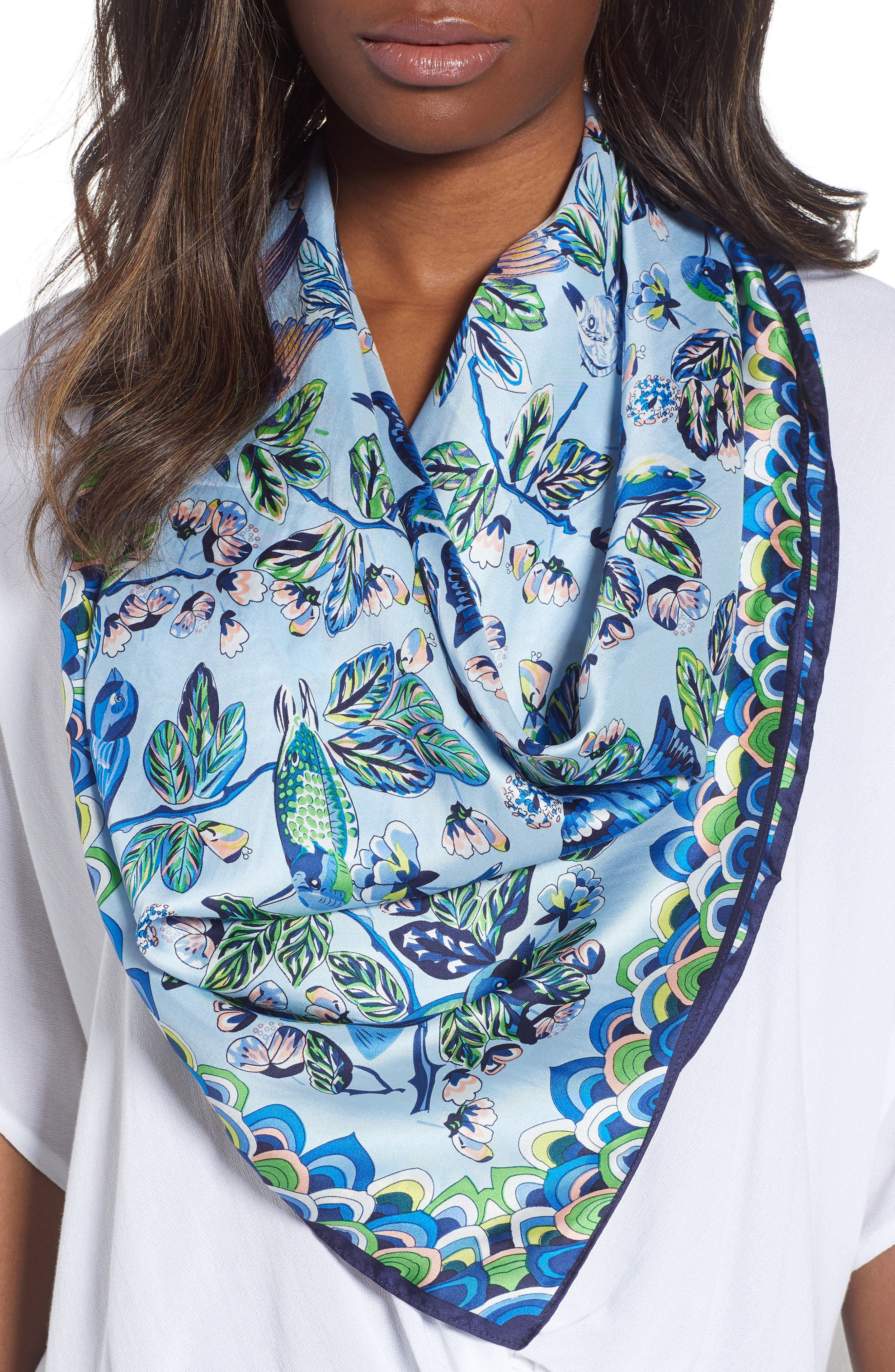 Flight of Fancy Square Silk Scarf,                             Main thumbnail 1, color,                             Blue Bell