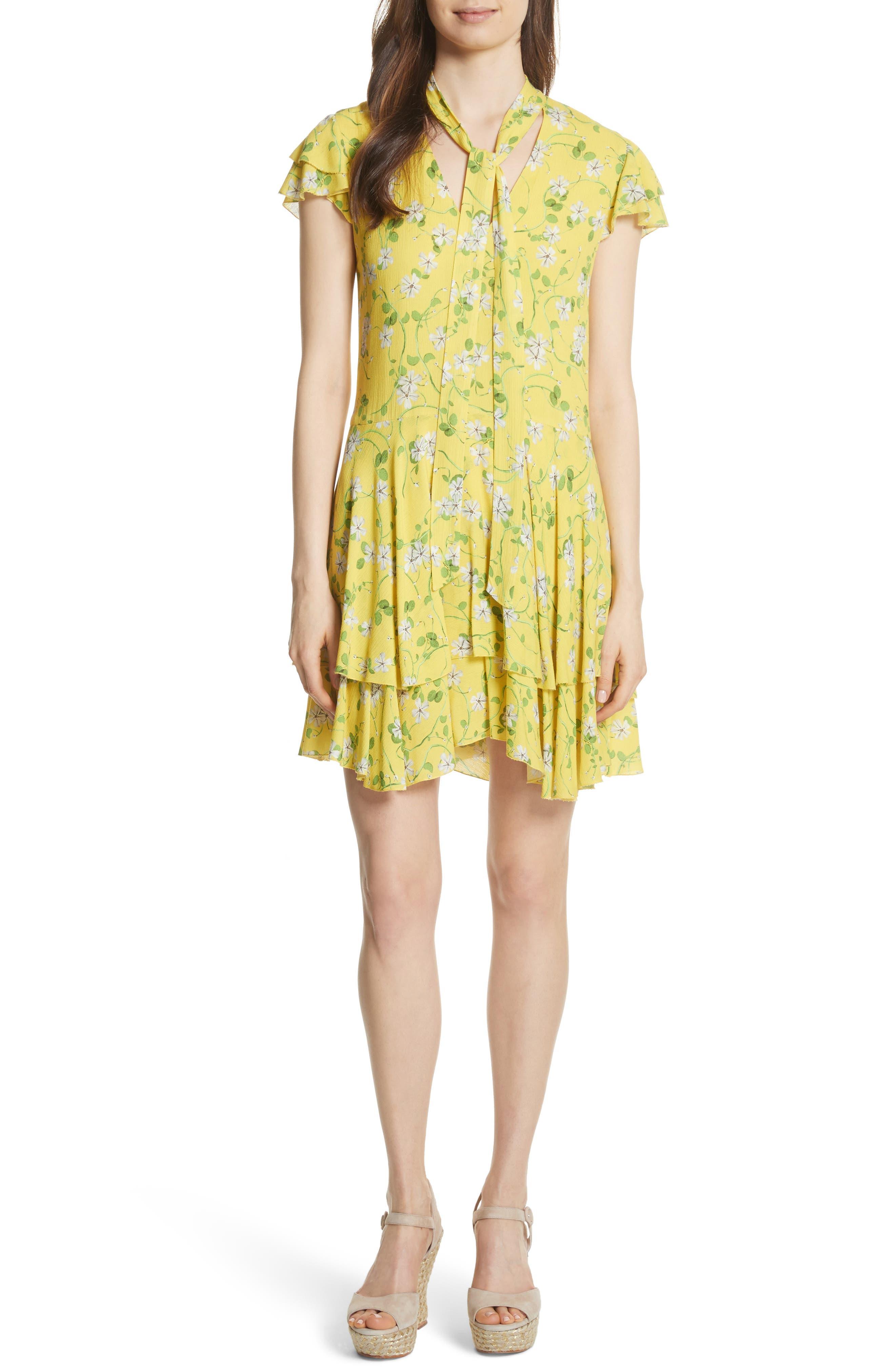 Moore Flutter Sleeve Layered Tunic Dress,                         Main,                         color, Spring Primrose-Lemon