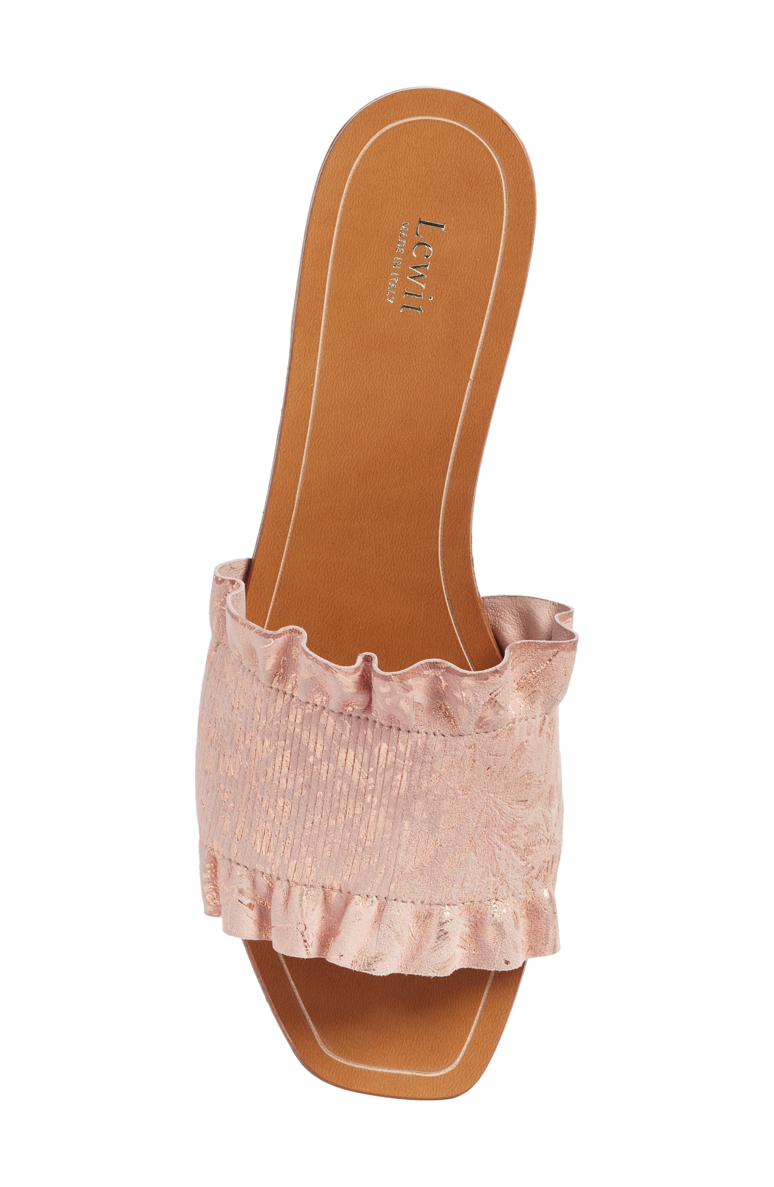 Cassandra Ruffle Slide Sandal,                             Alternate thumbnail 5, color,                             Rose Gold Leather