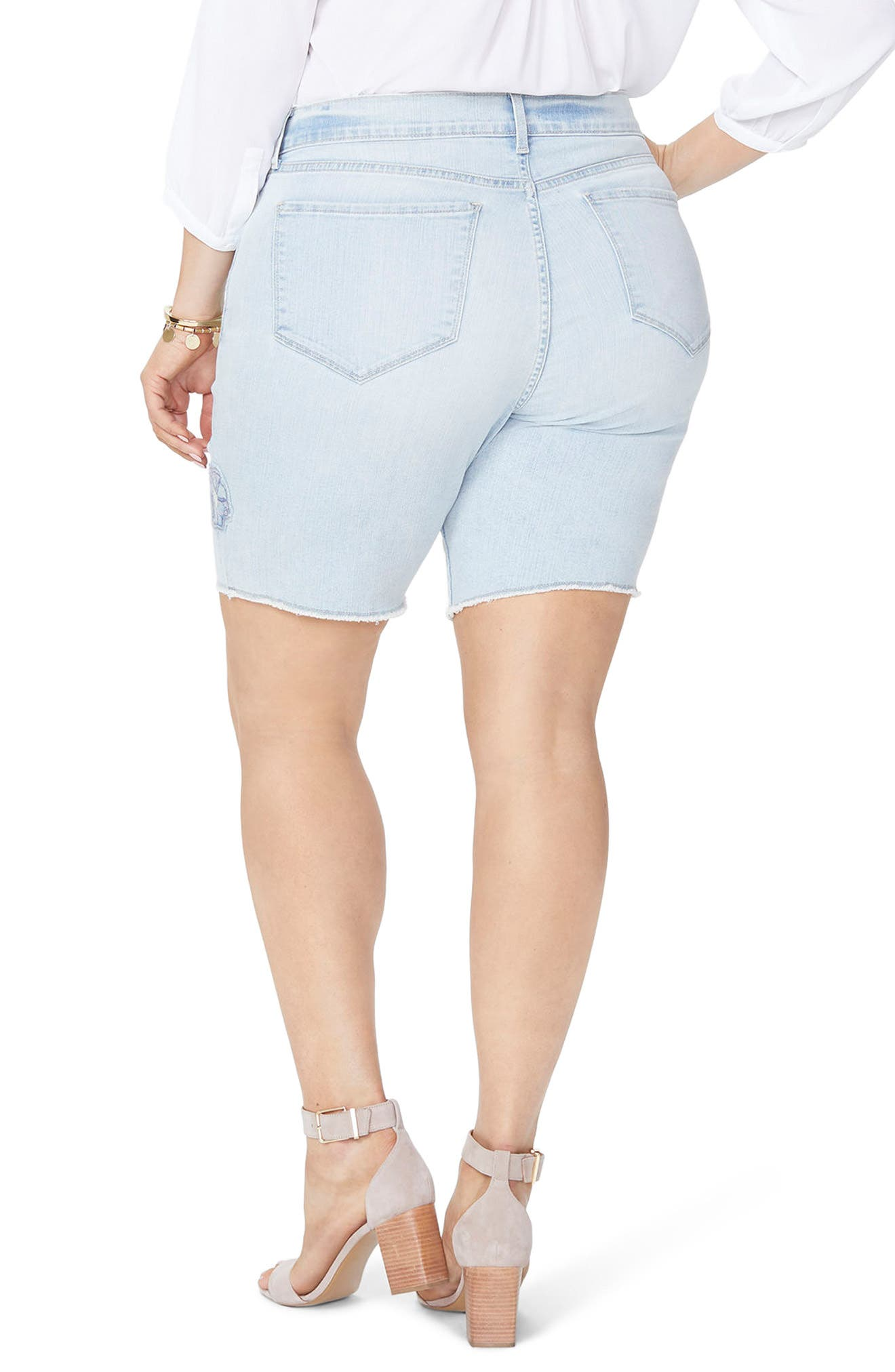 Briella Dream Blossom Denim Bermuda Shorts,                             Alternate thumbnail 2, color,                             Palm Desert