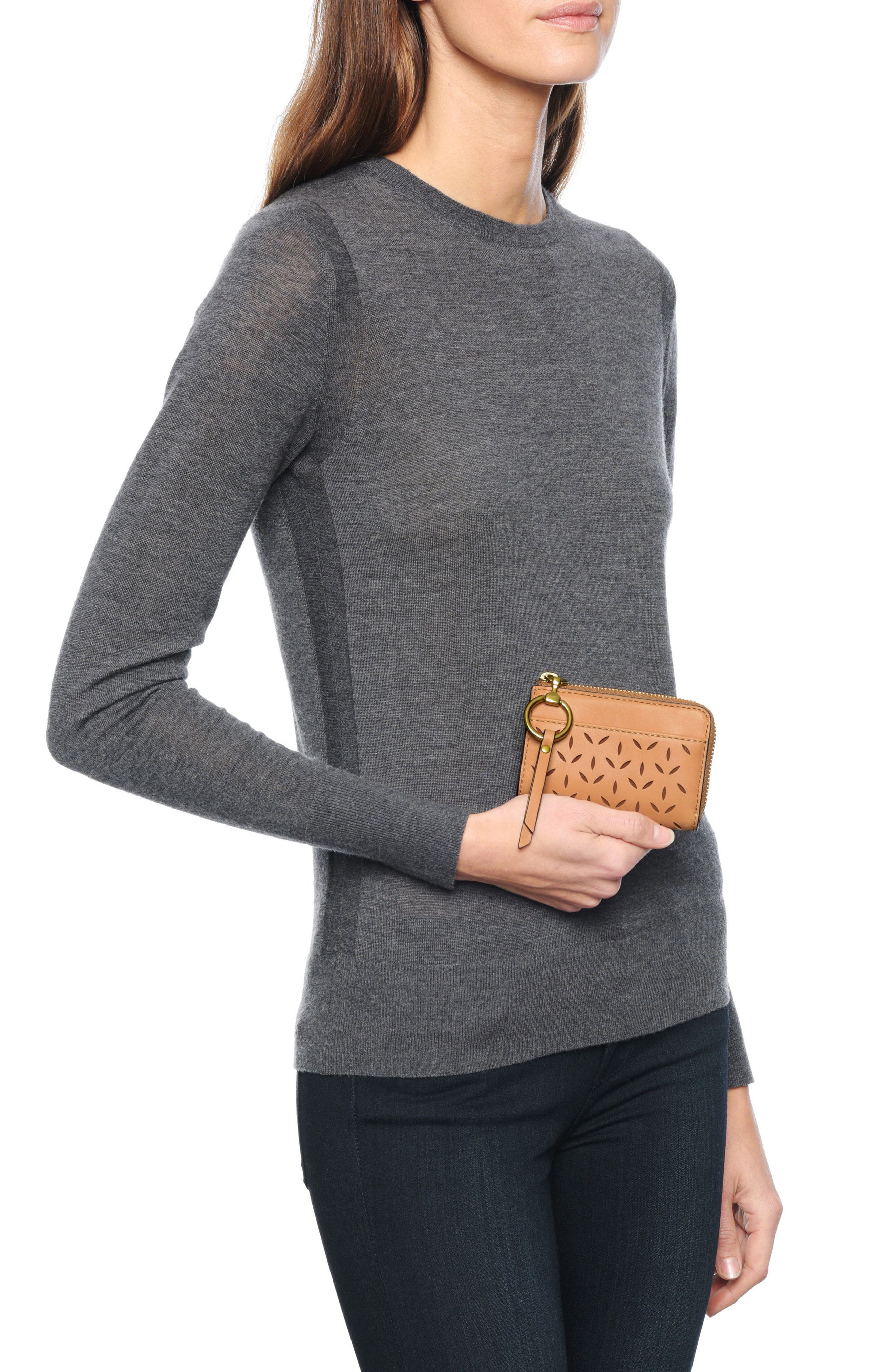 Ilana Small Perforated Leather Zip Wallet,                             Alternate thumbnail 3, color,                             Light Tan