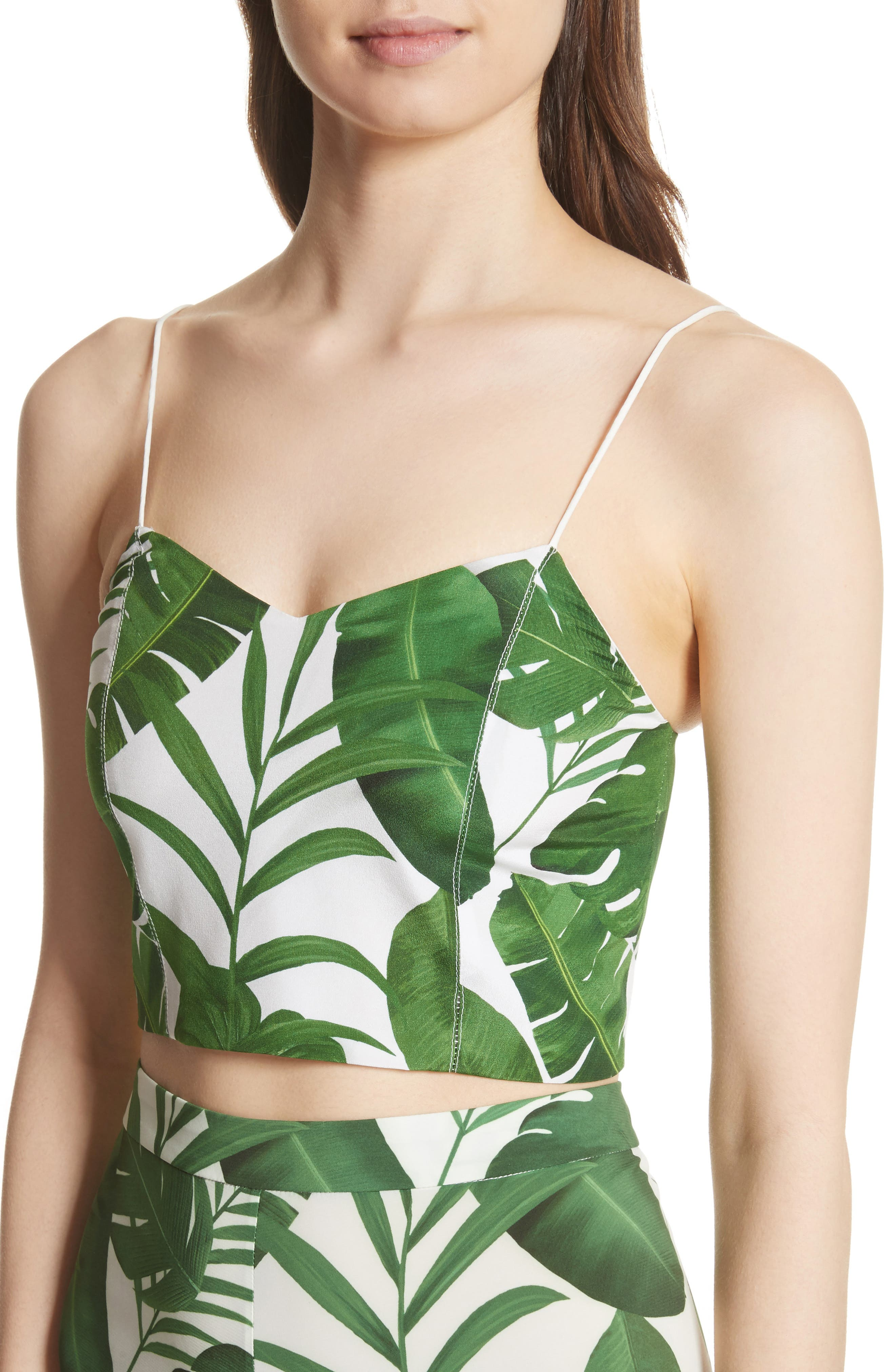 Archer Crop Silk Camisole,                             Alternate thumbnail 4, color,                             Tropical Leaves