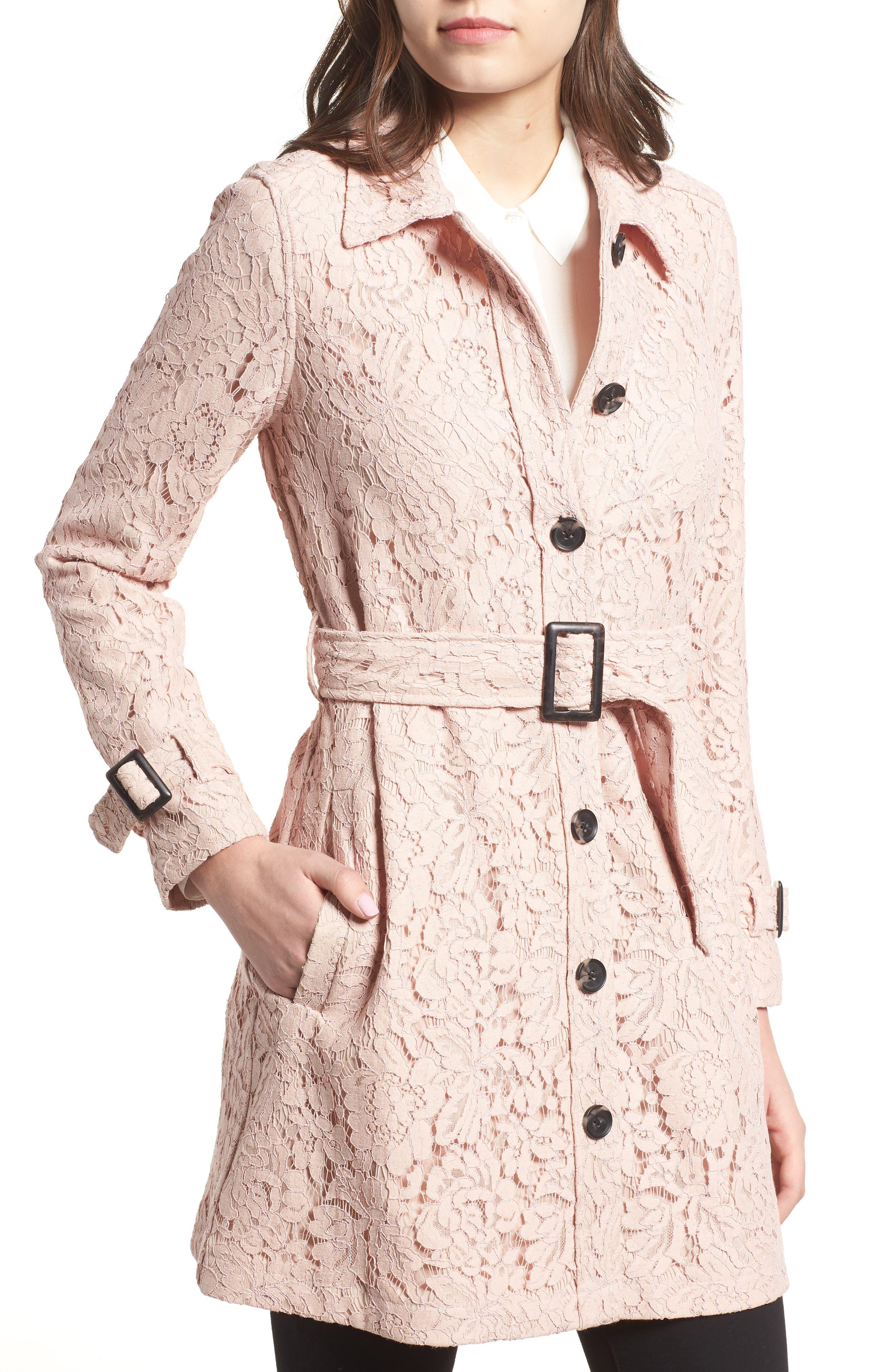Auretta Lace Trench Coat,                             Alternate thumbnail 4, color,                             Pale Pink