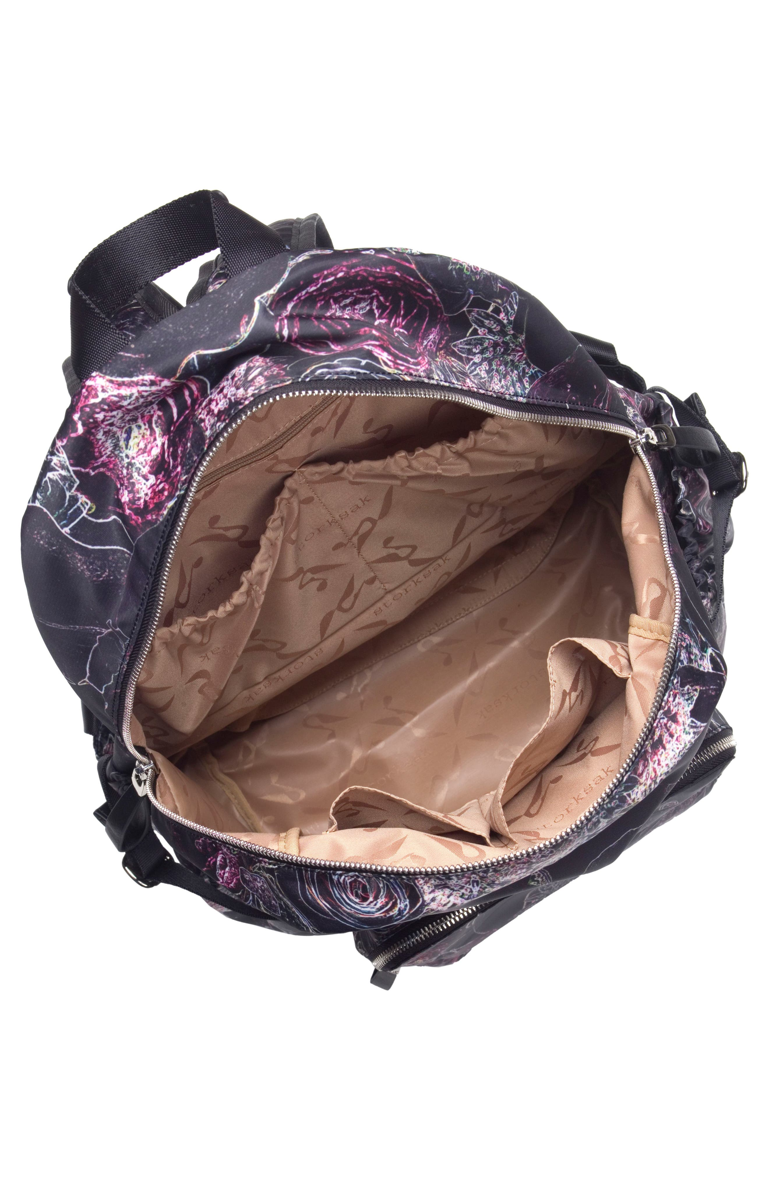 Hero Water Resistant Nylon Backpack Diaper Bag,                             Alternate thumbnail 7, color,                             Neon Floral