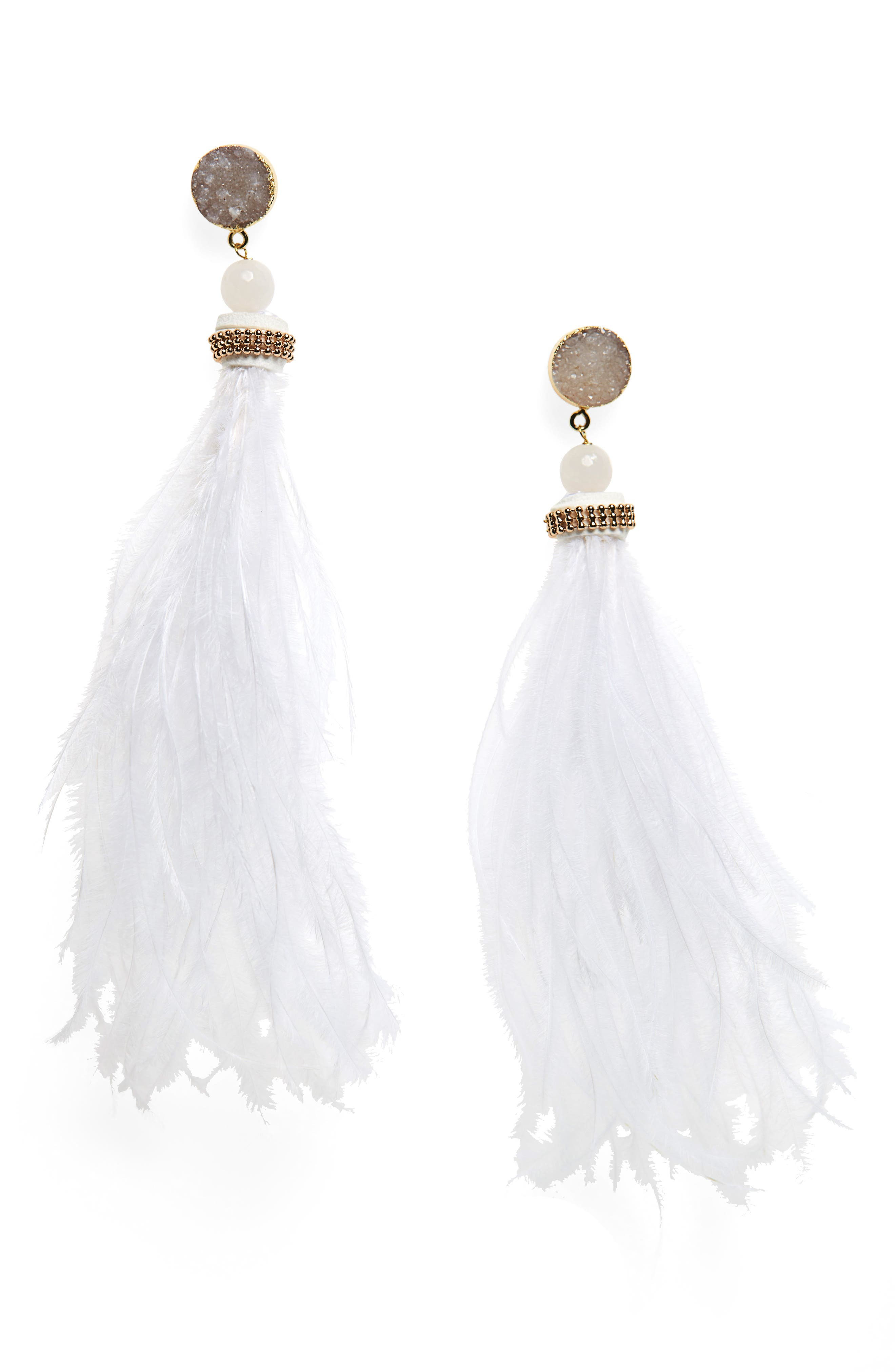 Stone & Feather Statement Earrings,                         Main,                         color, White