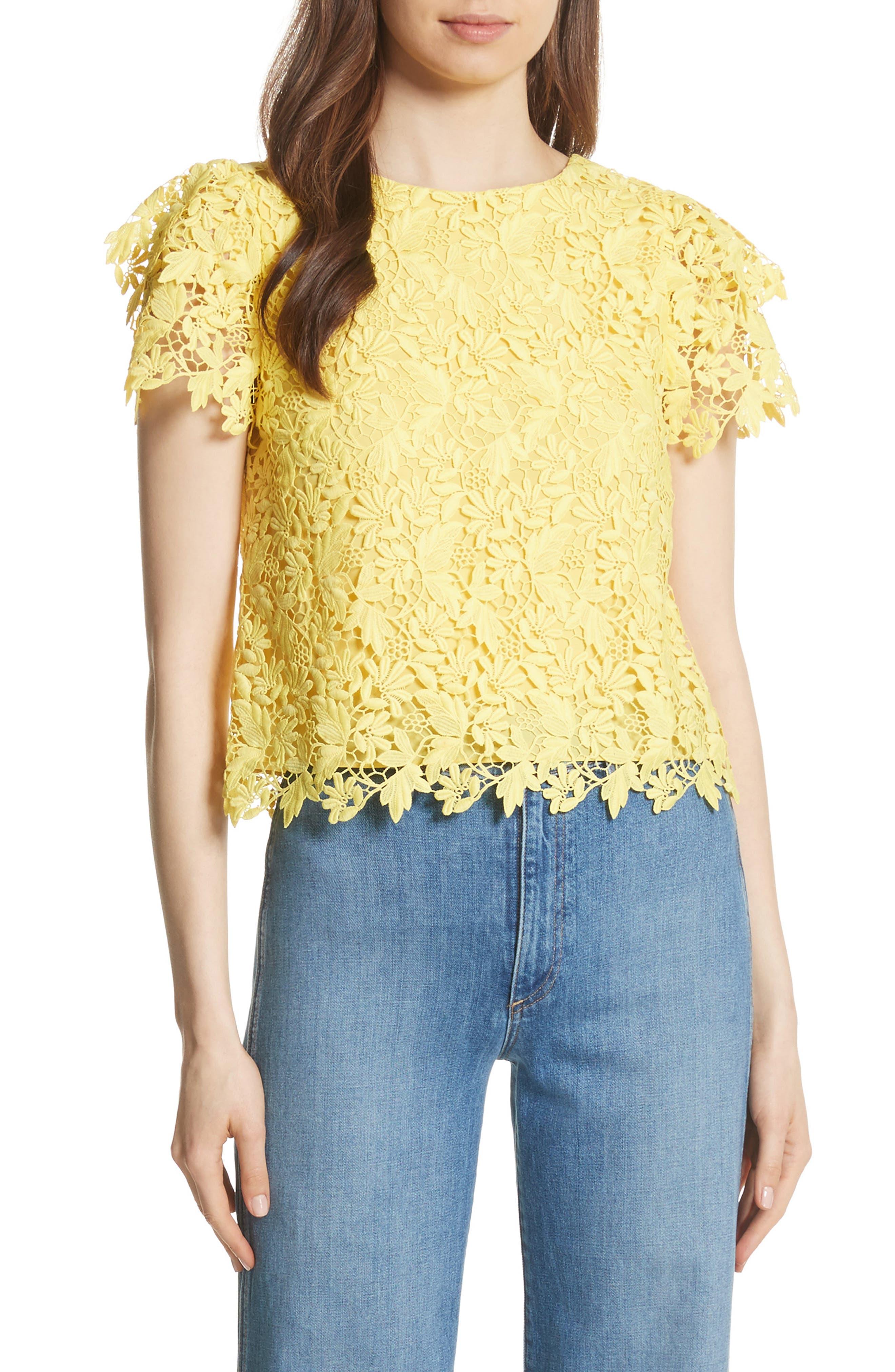 Franca Lace Top,                             Main thumbnail 1, color,                             Lemon