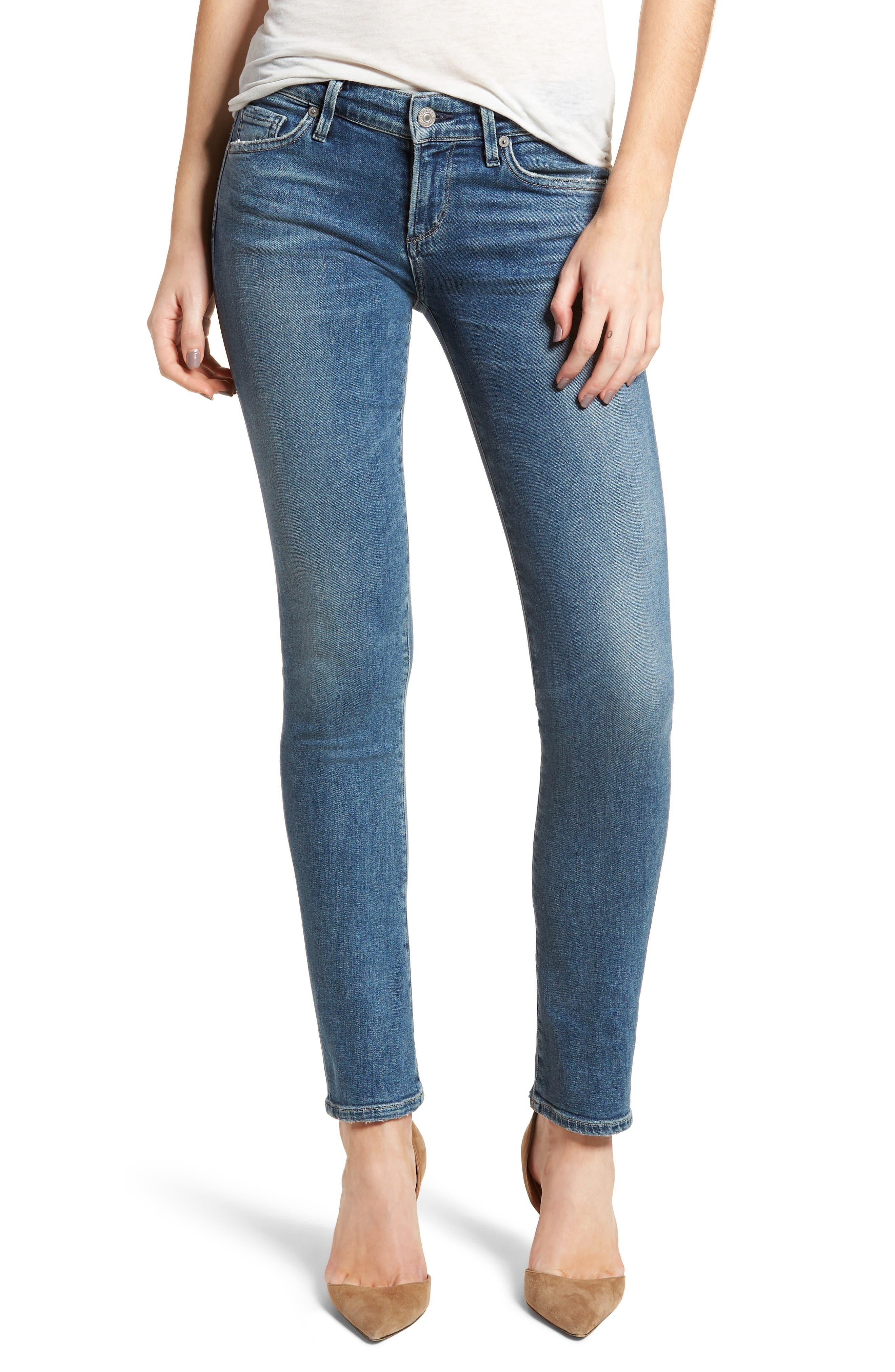Racer Skinny Jeans,                         Main,                         color, Orbit