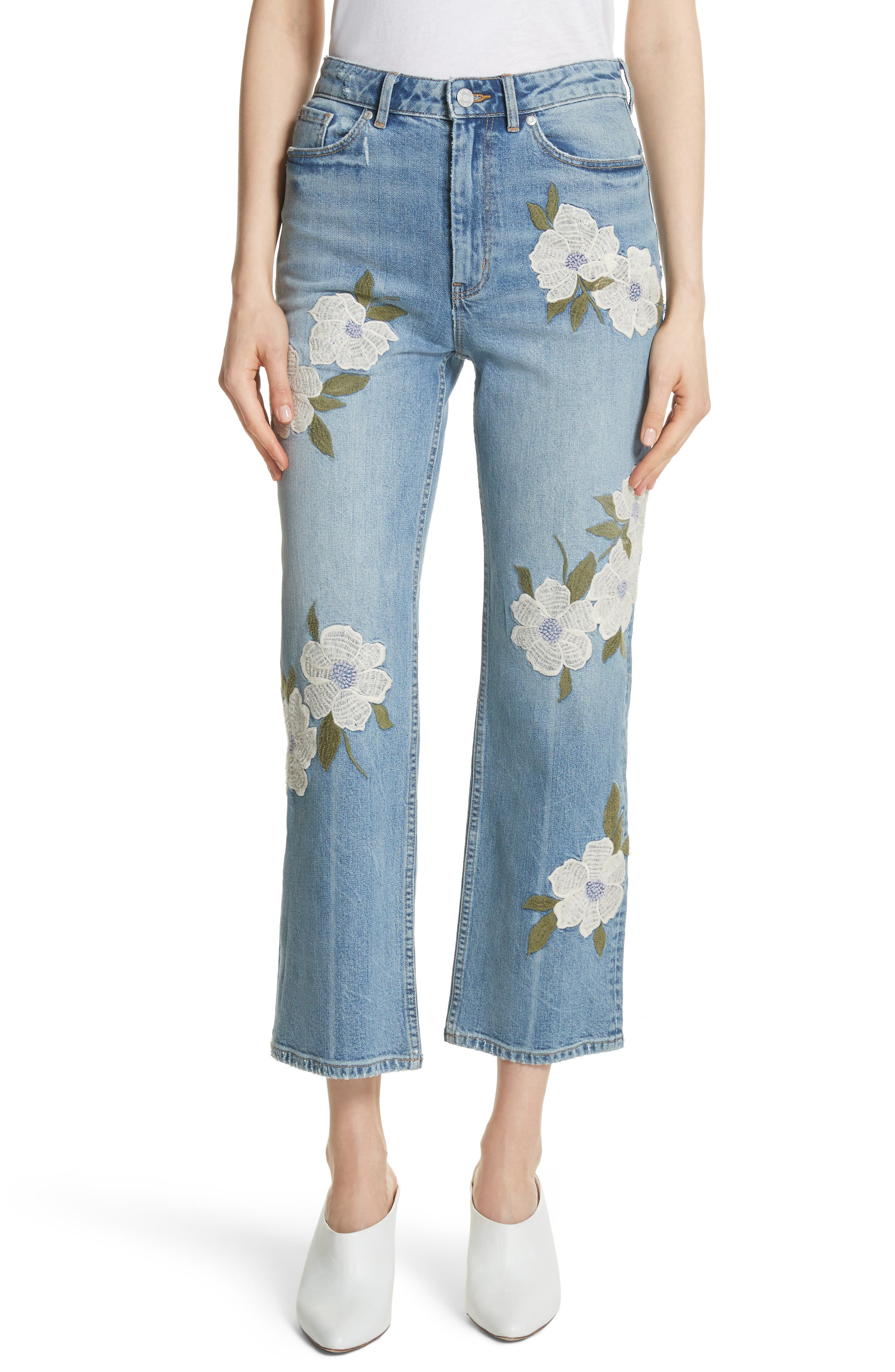 La Vie Rebecca Taylor Anais Floral Embroidered Crop Jeans (Rive)