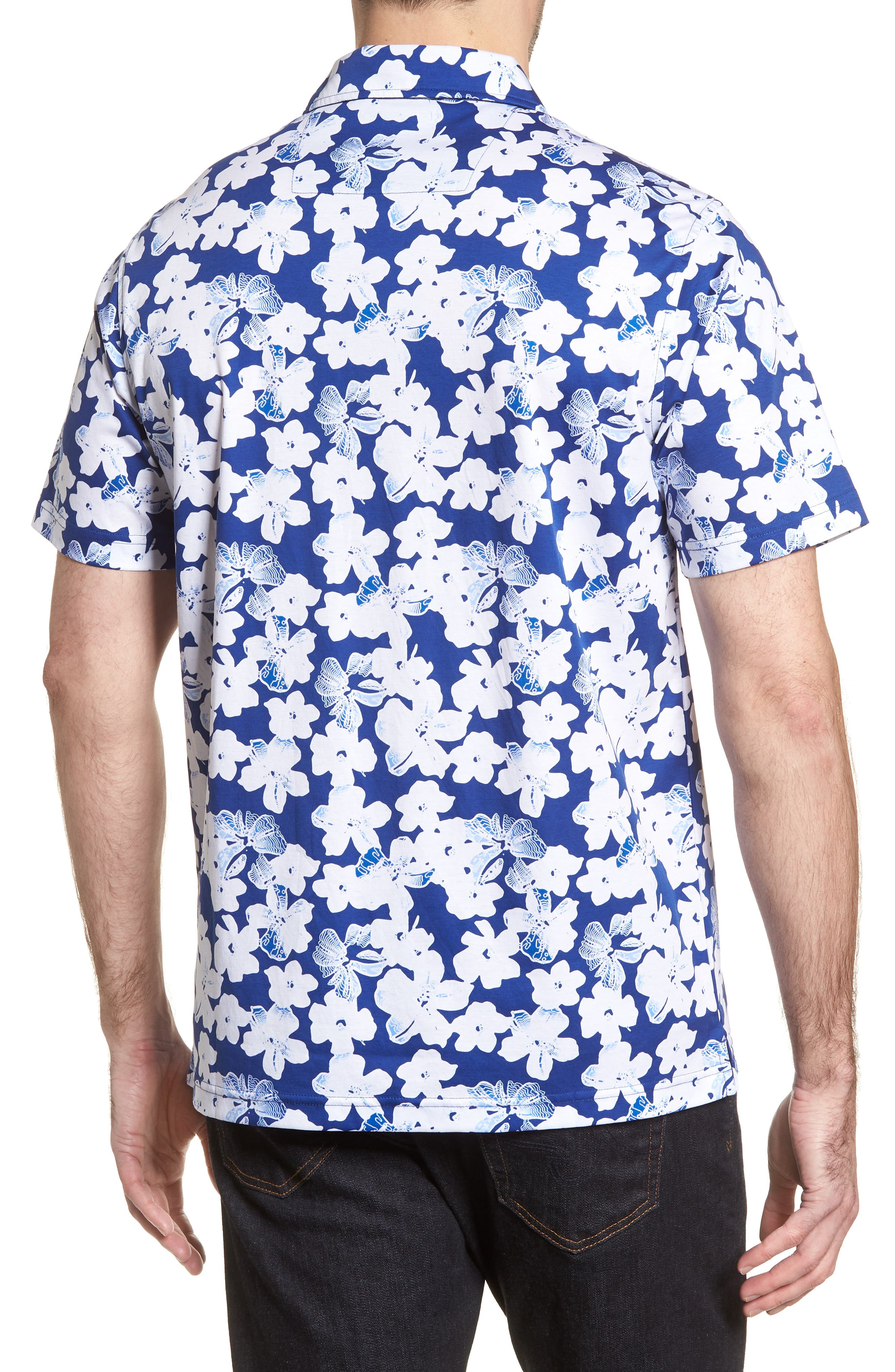 Classic Fit Floral Blueprint Polo,                             Alternate thumbnail 2, color,                             Royal