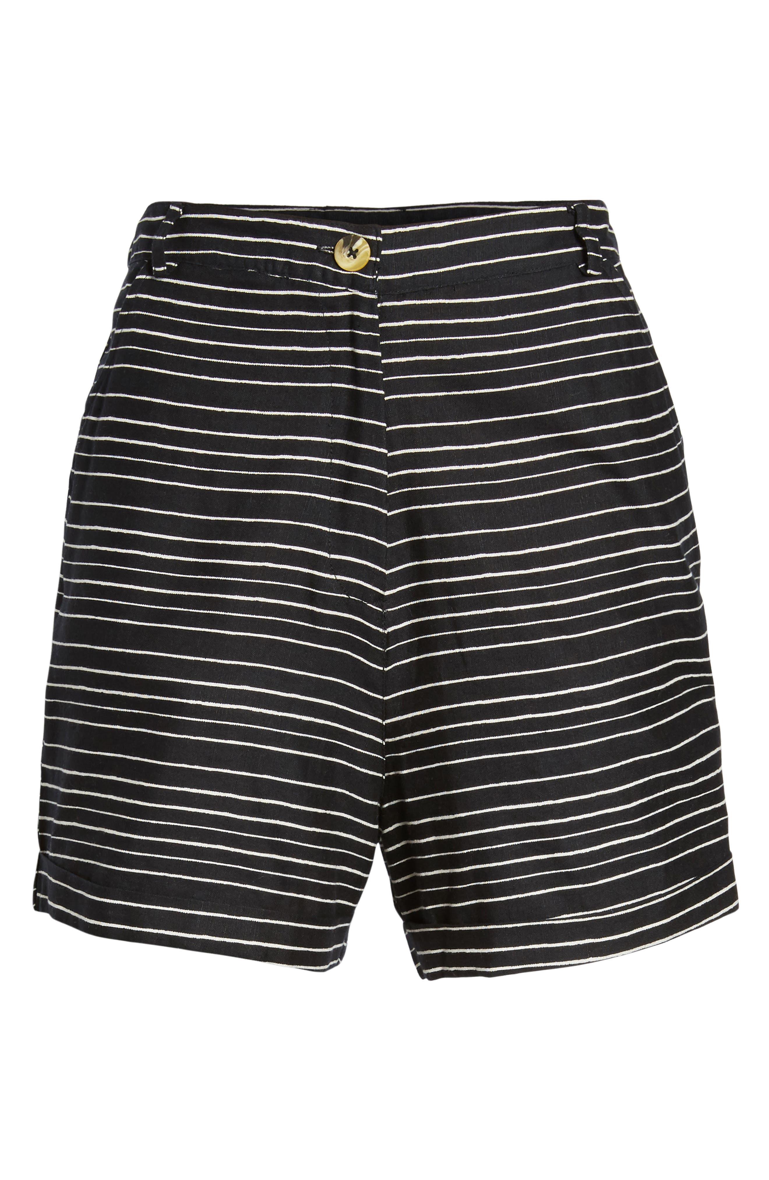Pin-Up Linen Blend Shorts,                             Alternate thumbnail 6, color,                             Black