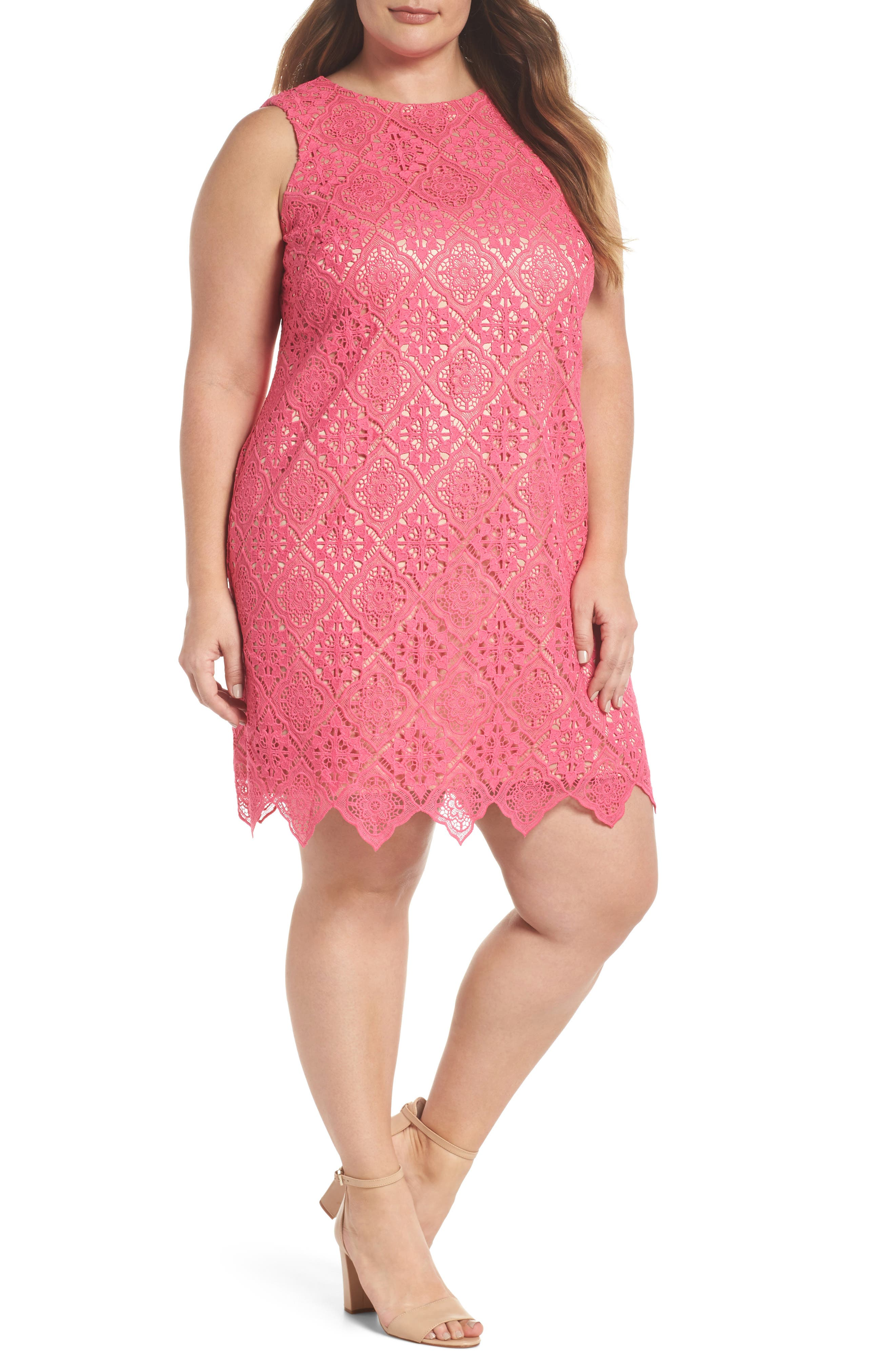 Lace Sleeveless Shift Dress,                         Main,                         color, Hot Pink
