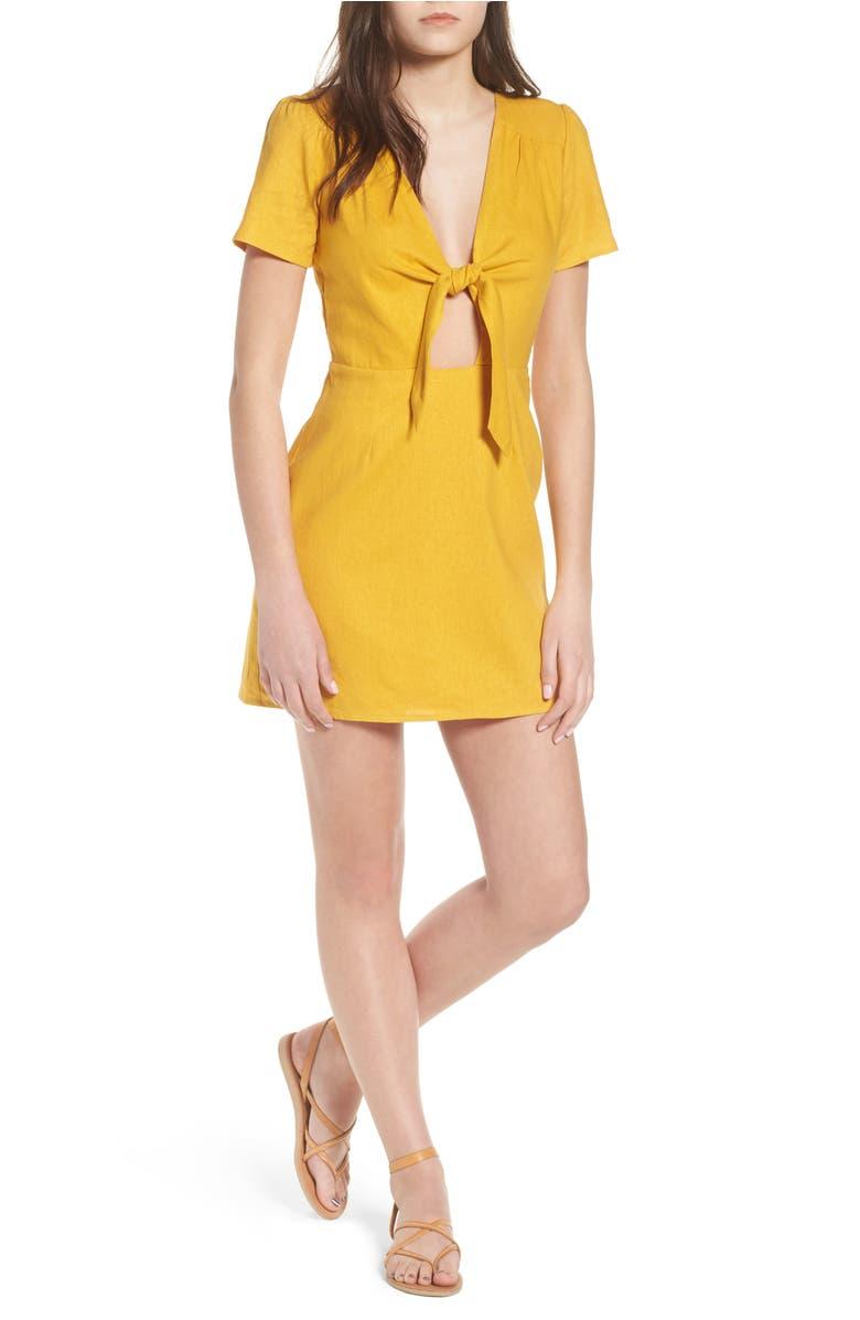 Jillian Tie Front Minidress,                         Main,                         color, Mustard Linen