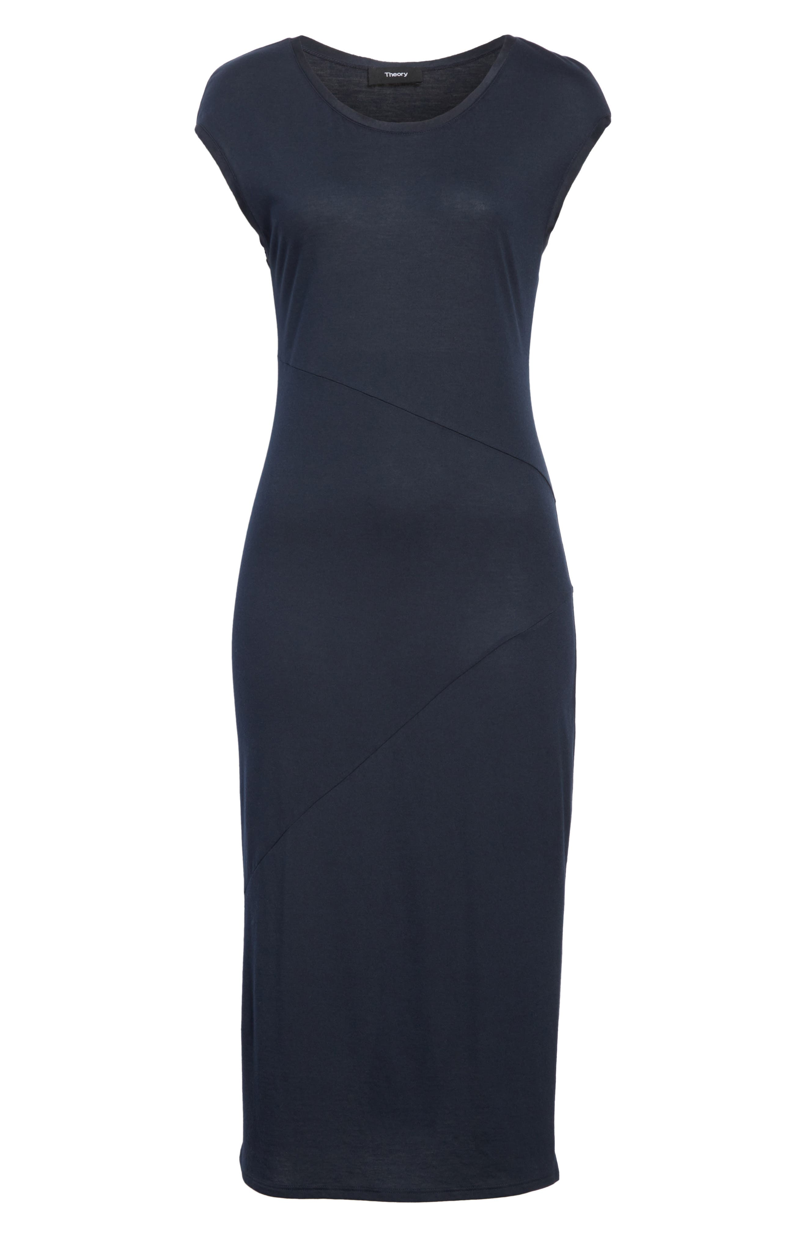 Plume Seamed Cotton Blend Jersey Dress,                             Alternate thumbnail 6, color,                             Deep Navy
