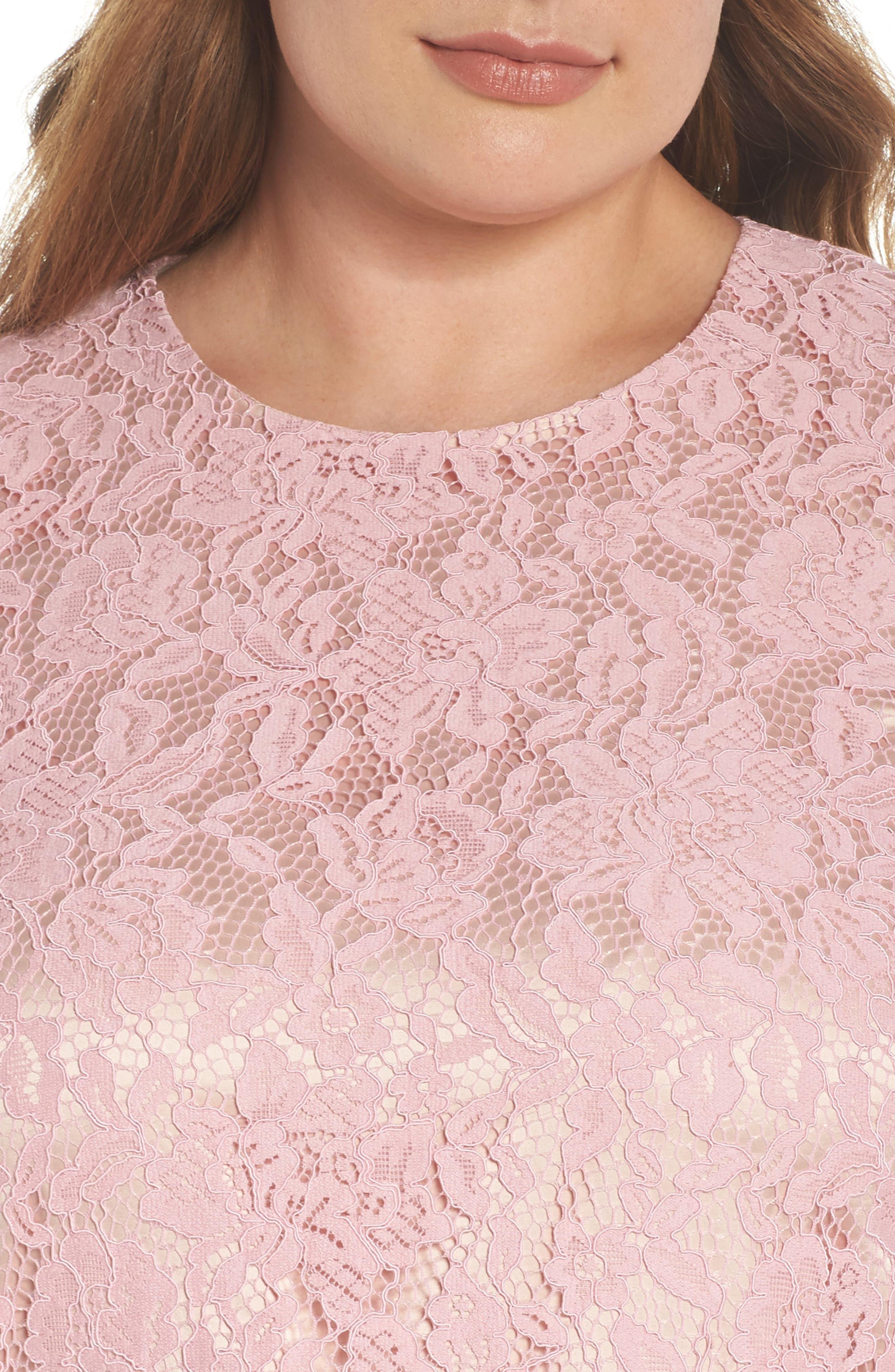 Lace Sleeveless Drop Waist Dress,                             Alternate thumbnail 4, color,                             Blush