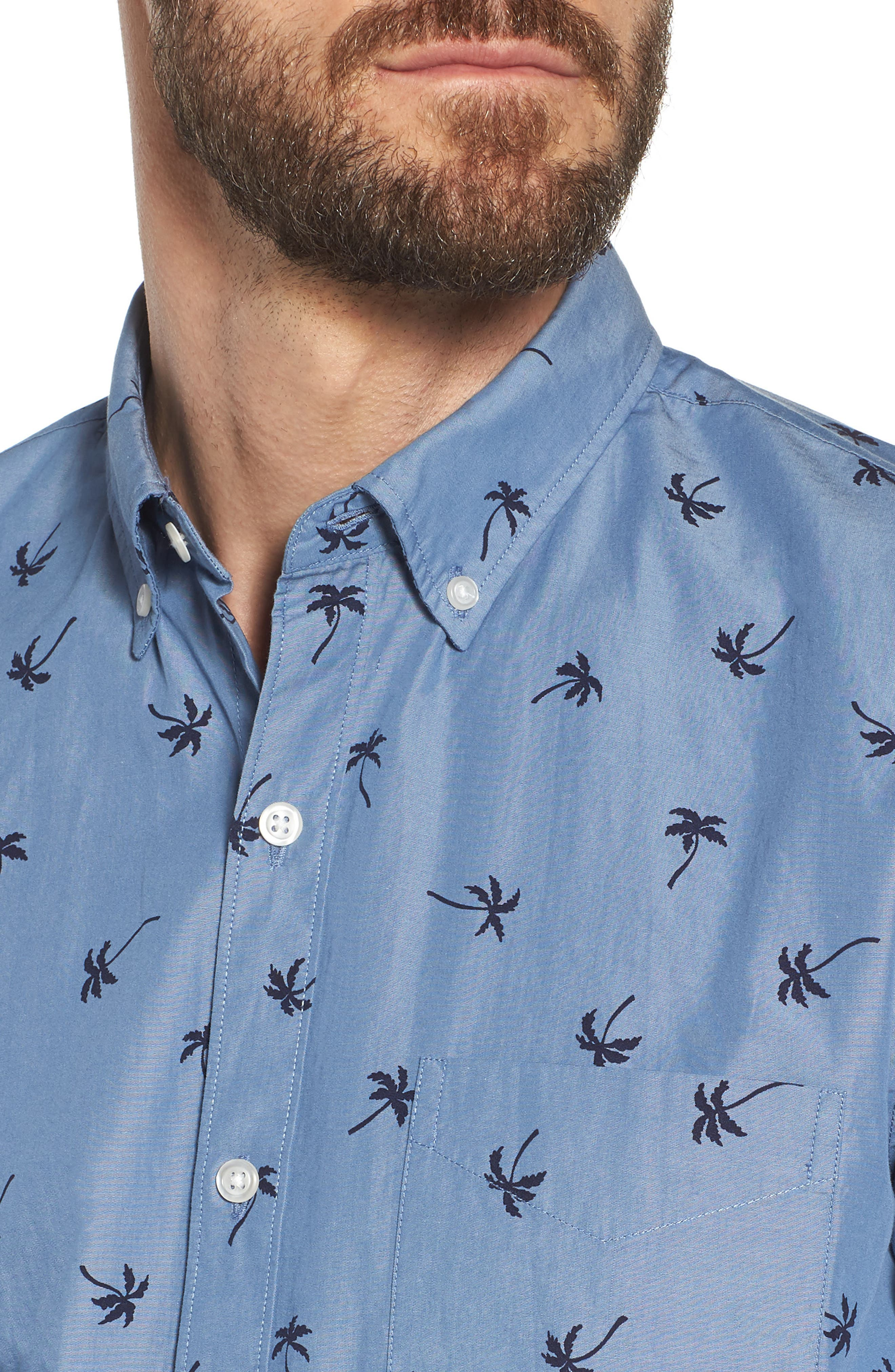 Slim Fit Print Sport Shirt,                             Alternate thumbnail 2, color,                             Single Palm - Maritime Blue