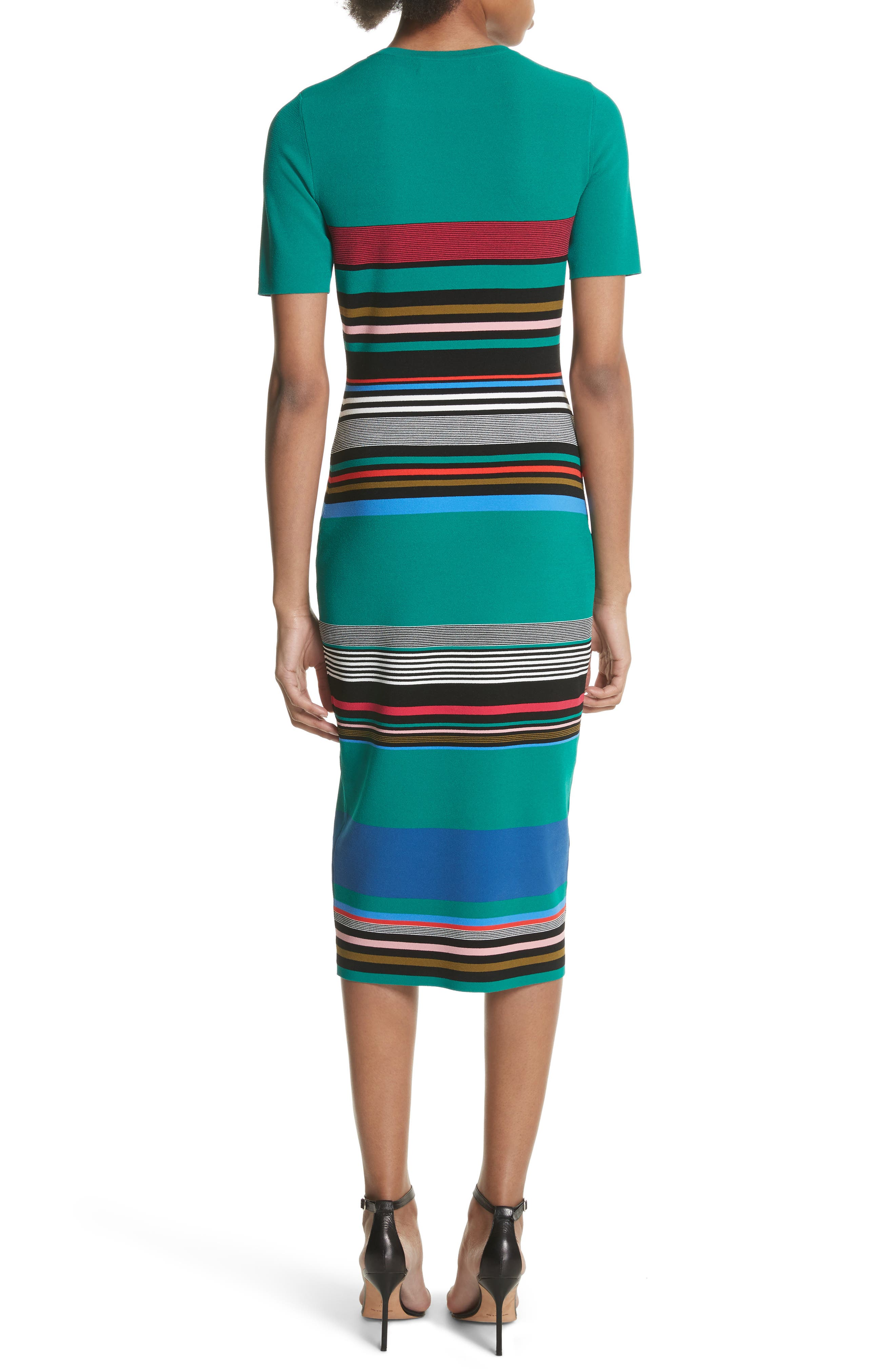 Diane von Furstenberg Stripe Short Sleeve Sweater Dress,                             Alternate thumbnail 2, color,                             Juniper Multi