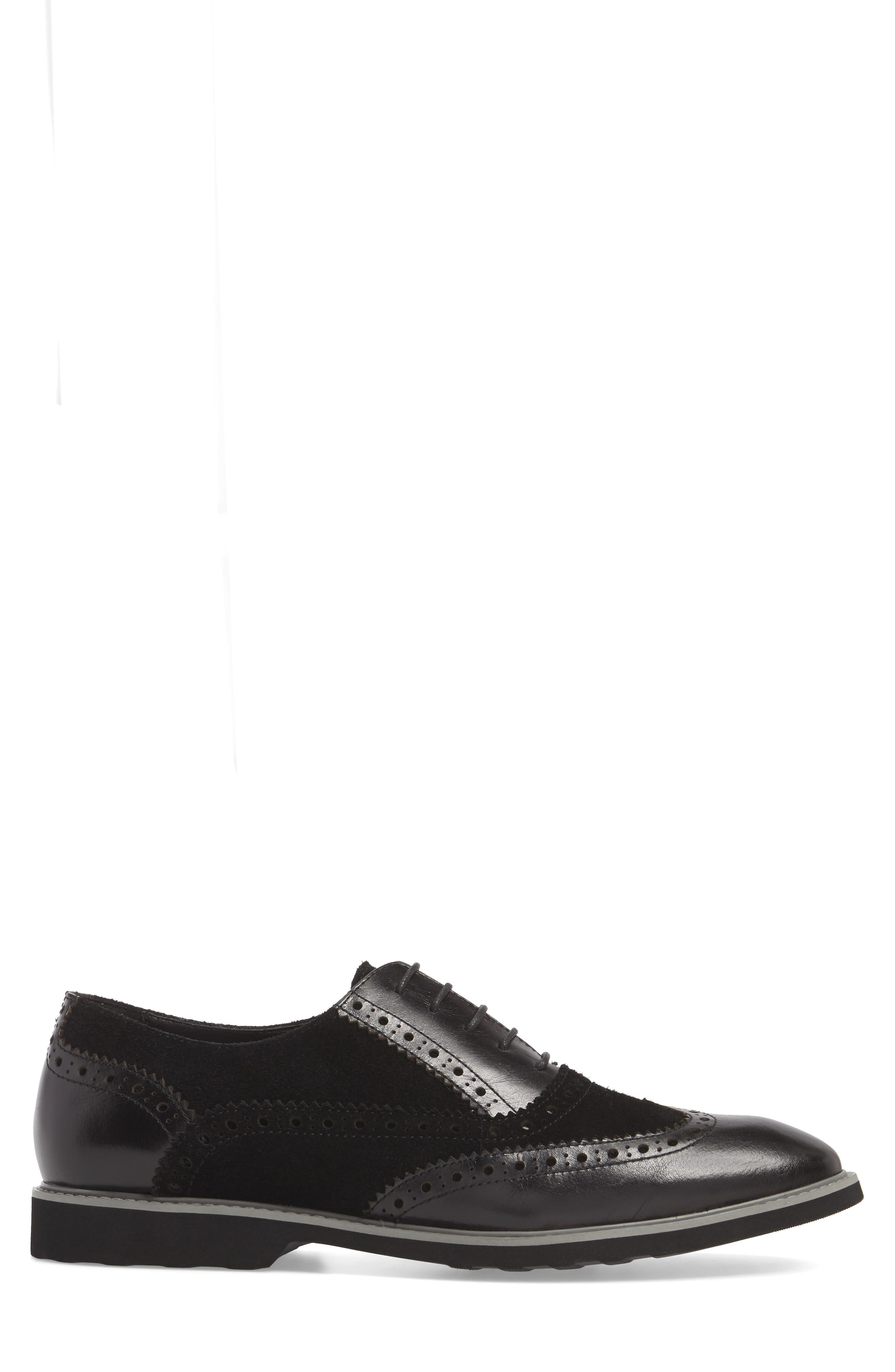 Chorley Wingtip Oxford,                             Alternate thumbnail 3, color,                             Black Leather/ Suede