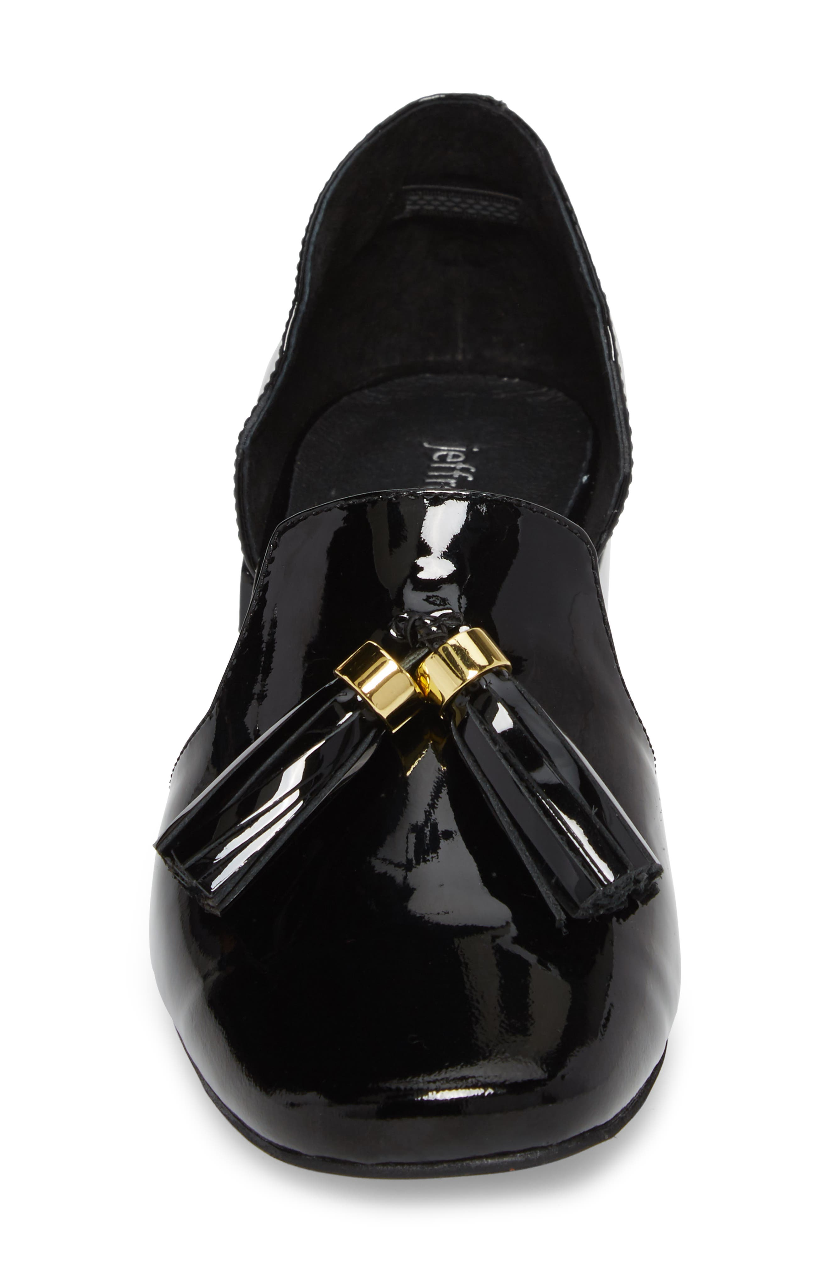 Genial Statement Heel d'Orsay Pump,                             Alternate thumbnail 4, color,                             Black Patent Leather