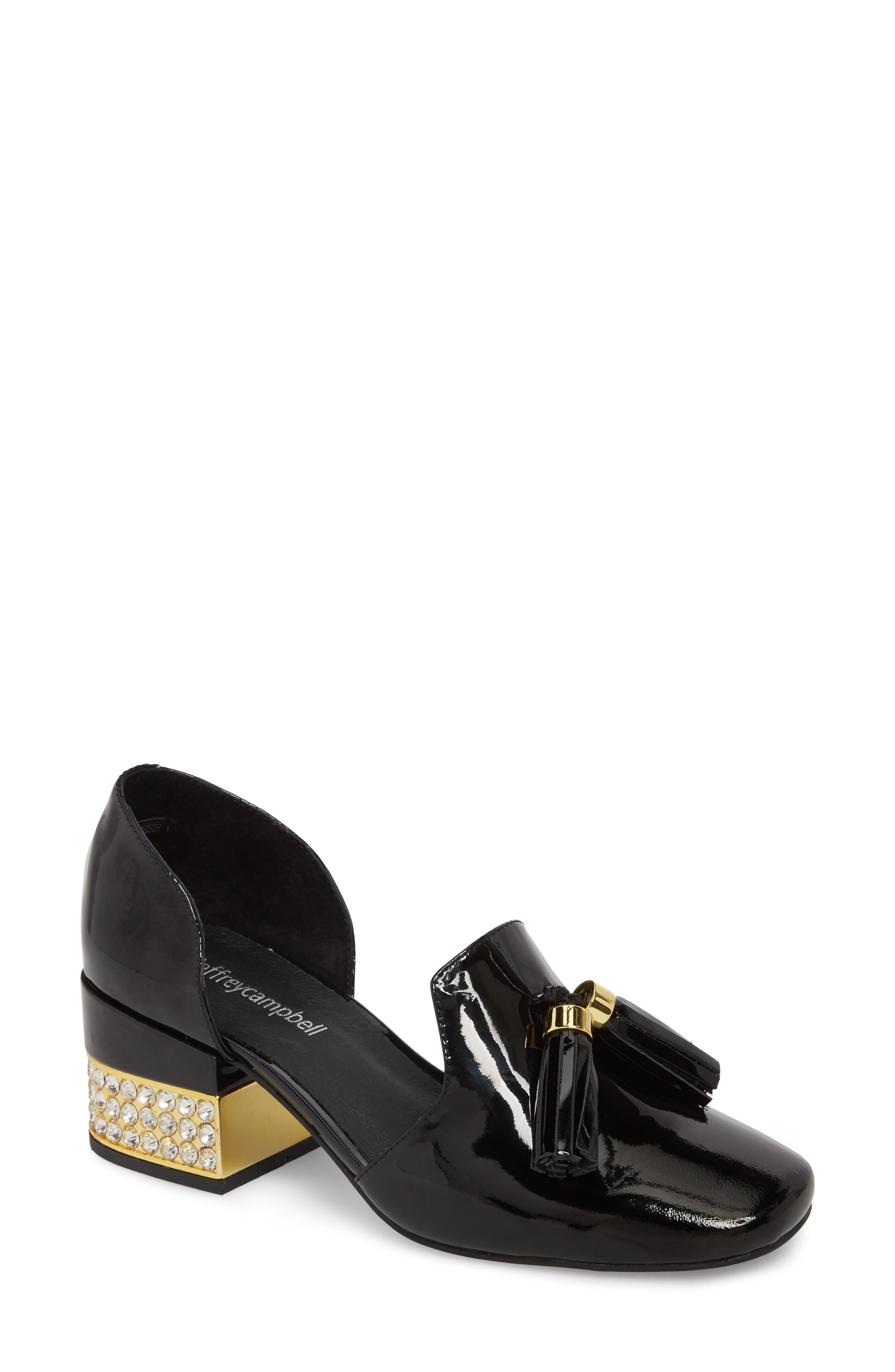 Genial Statement Heel d'Orsay Pump,                             Main thumbnail 1, color,                             Black Patent Leather