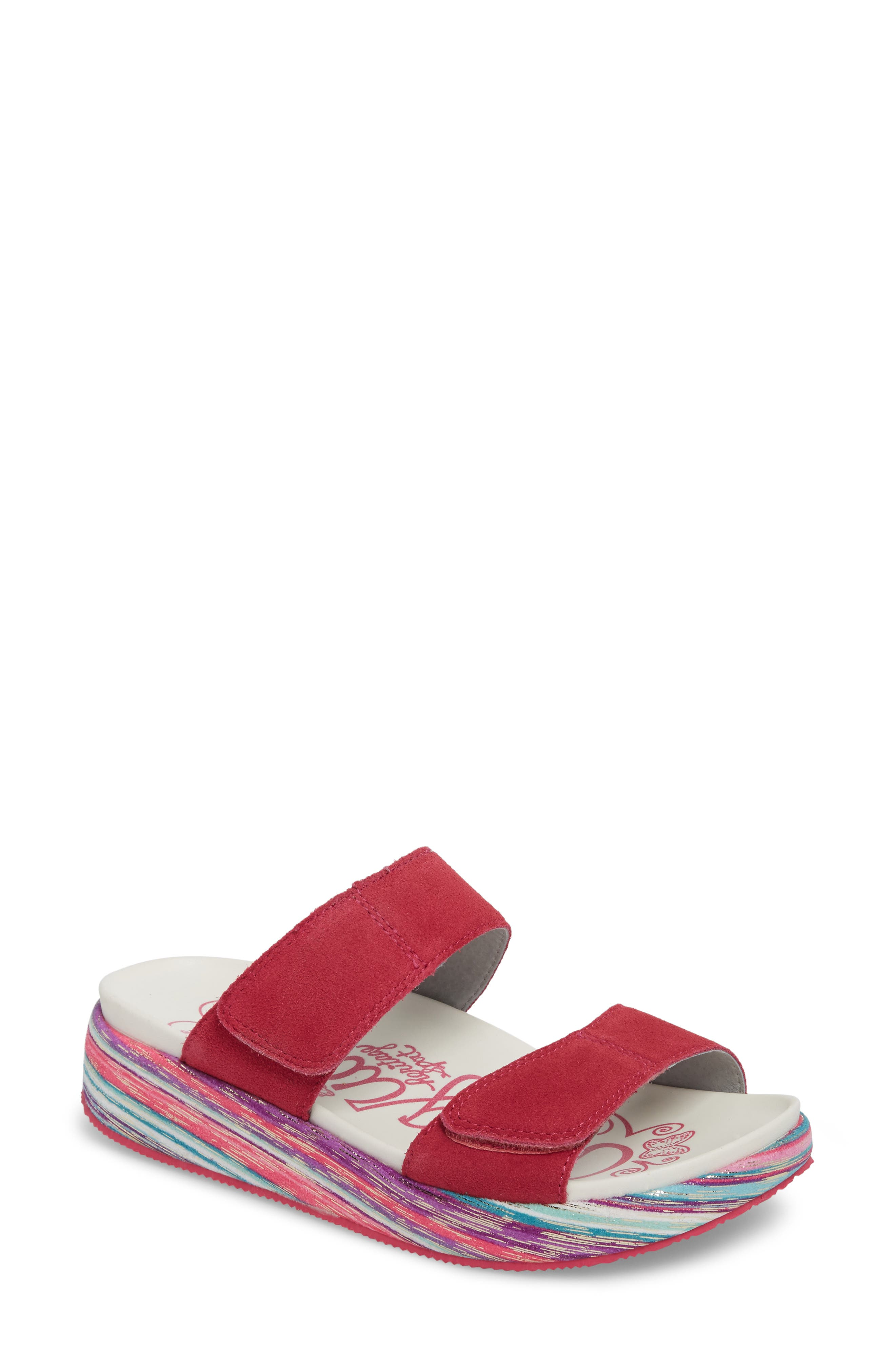 by PG Lite Mixie Slide Sandal,                             Main thumbnail 1, color,                             Fuchsia Party Leather