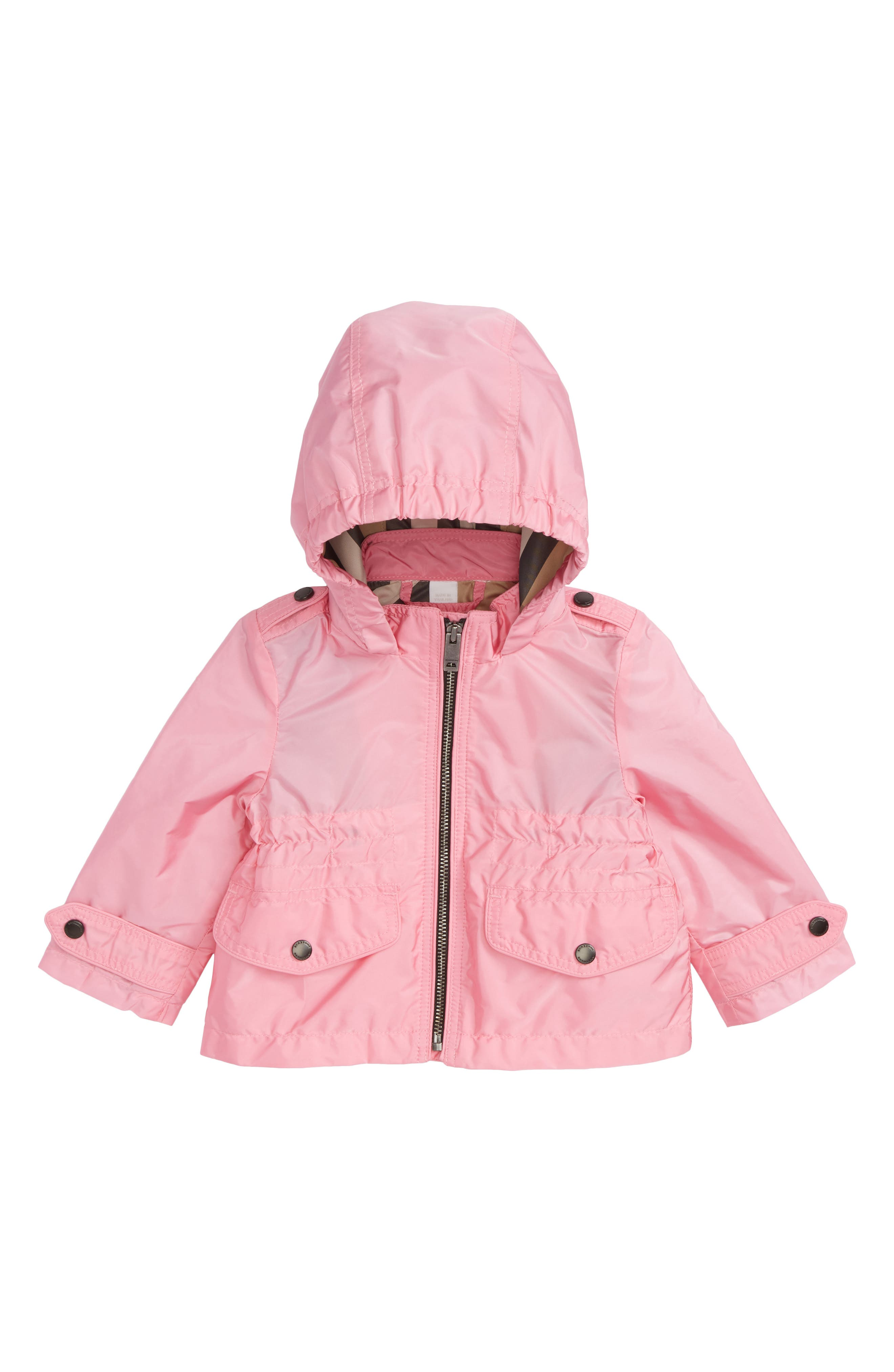 Mini Halle Hooded Packaway Rain Jacket,                             Main thumbnail 1, color,                             Bright Coral Pink