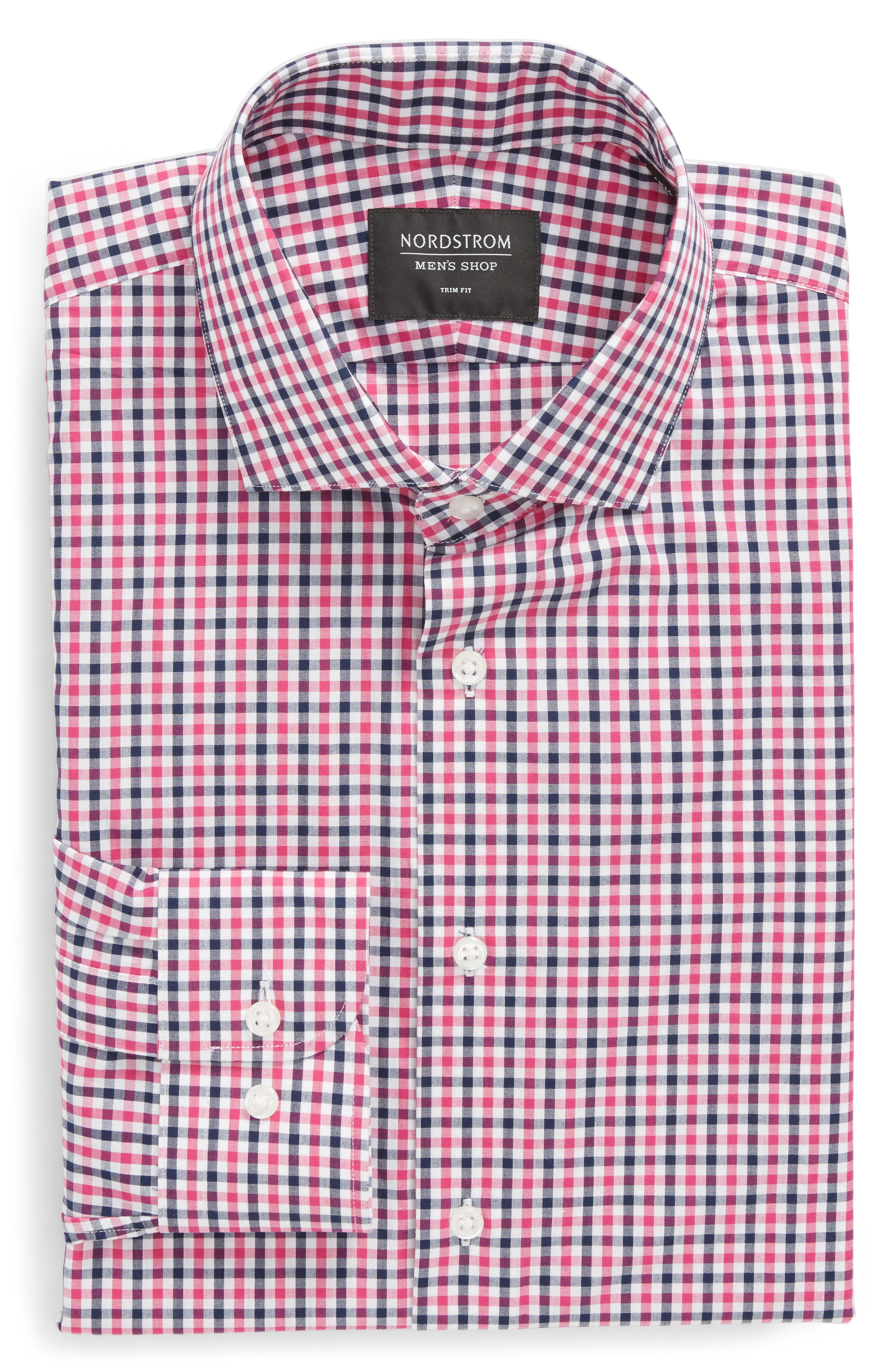 Trim Fit Check Dress Shirt,                             Alternate thumbnail 6, color,                             Pink Berry