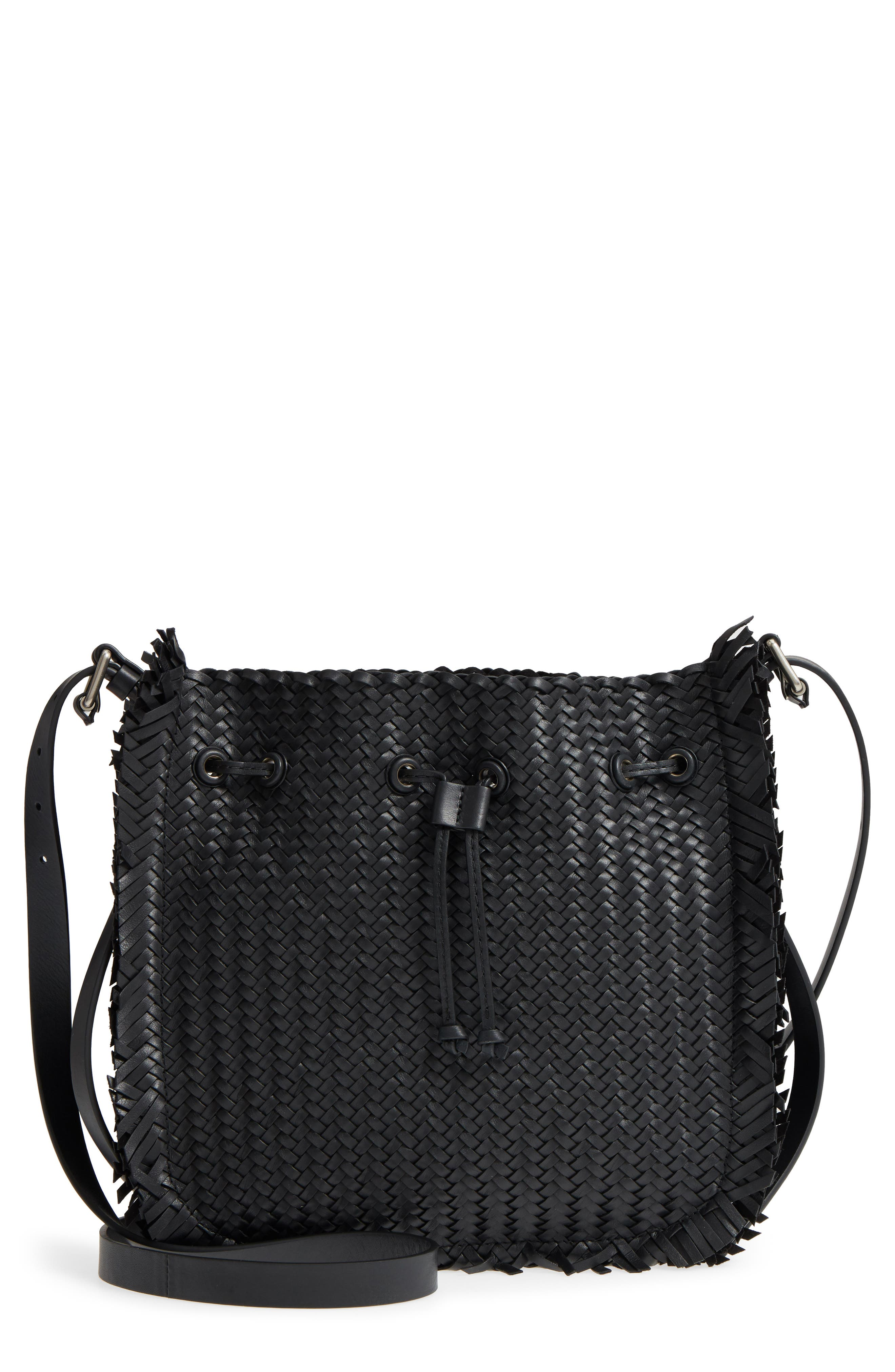Maldives Woven Frayed Leather Tote,                         Main,                         color, Black