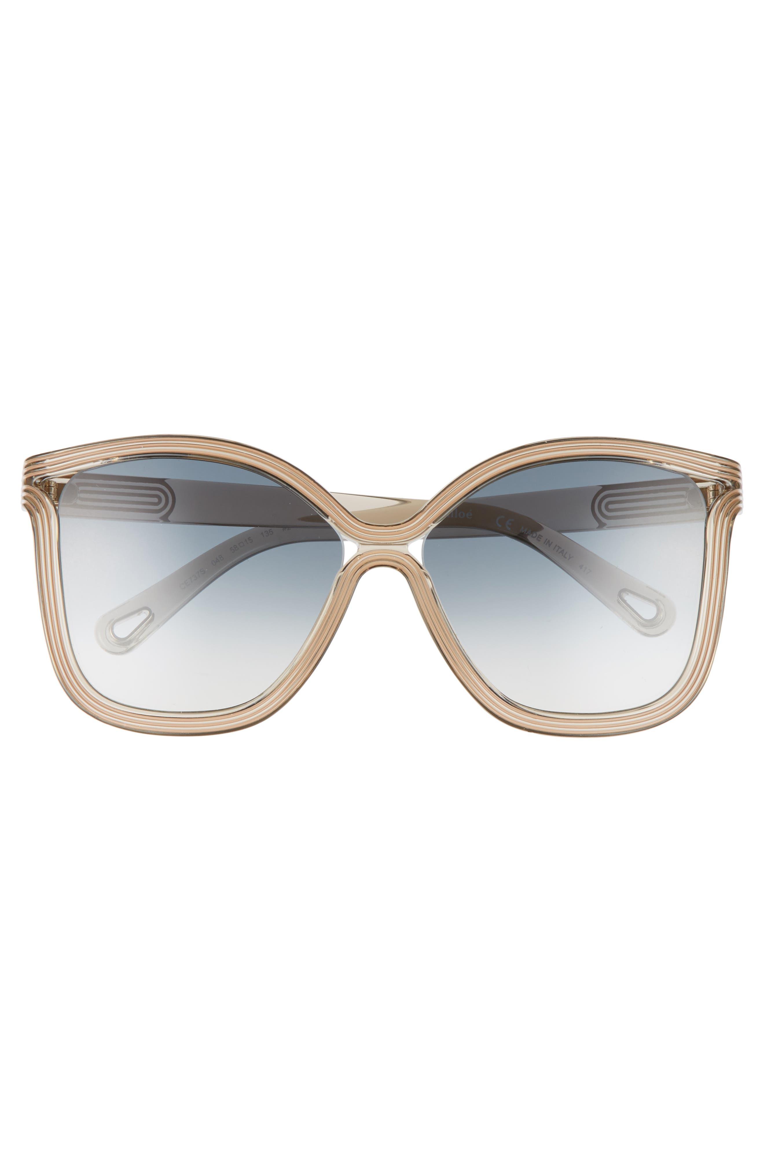 Grooves 58mm Rectangular Sunglasses,                             Alternate thumbnail 3, color,                             Greige