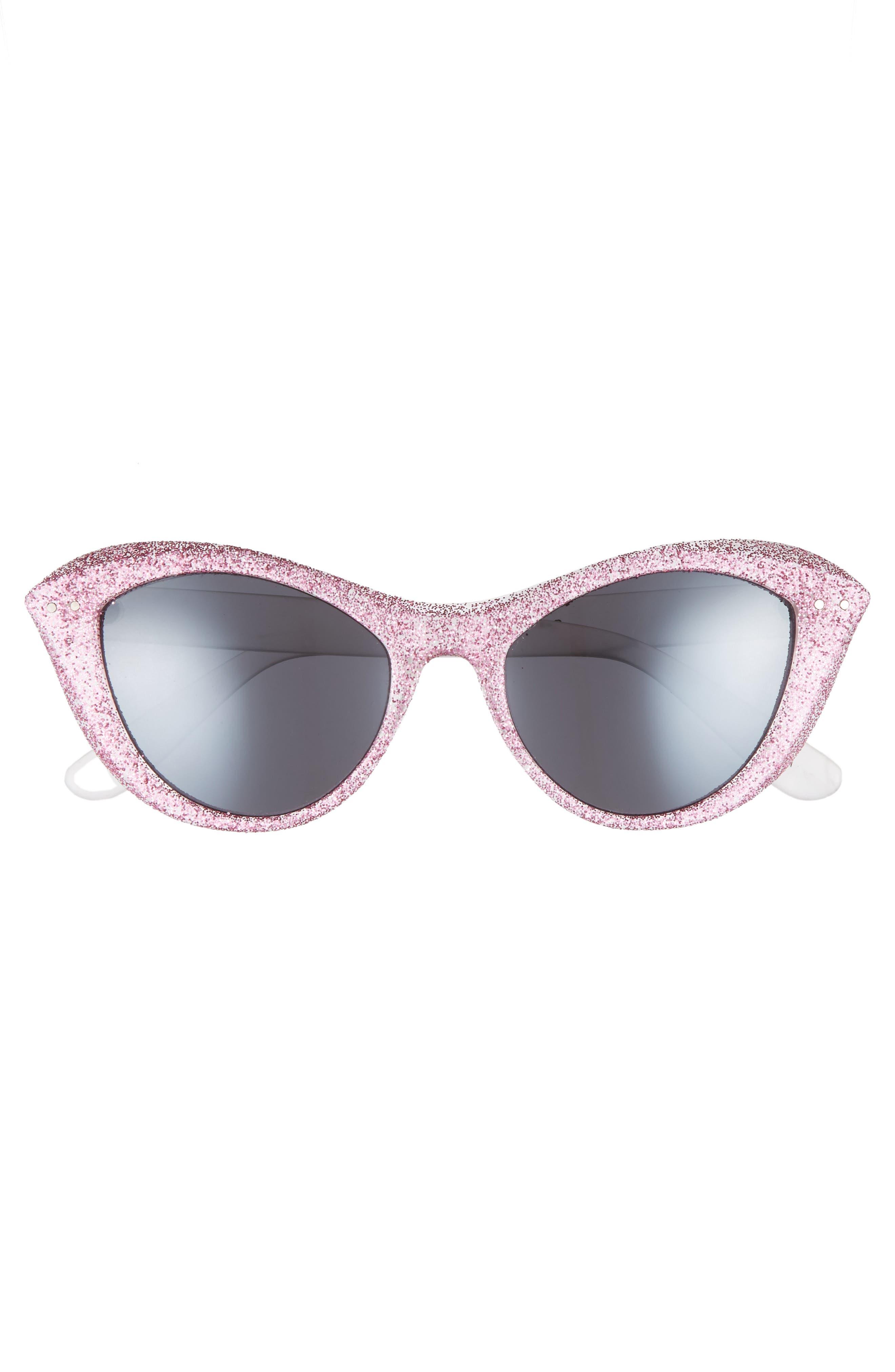 50mm Retro Cat Eye Sunglasses,                             Alternate thumbnail 3, color,                             Milky White/ Pink