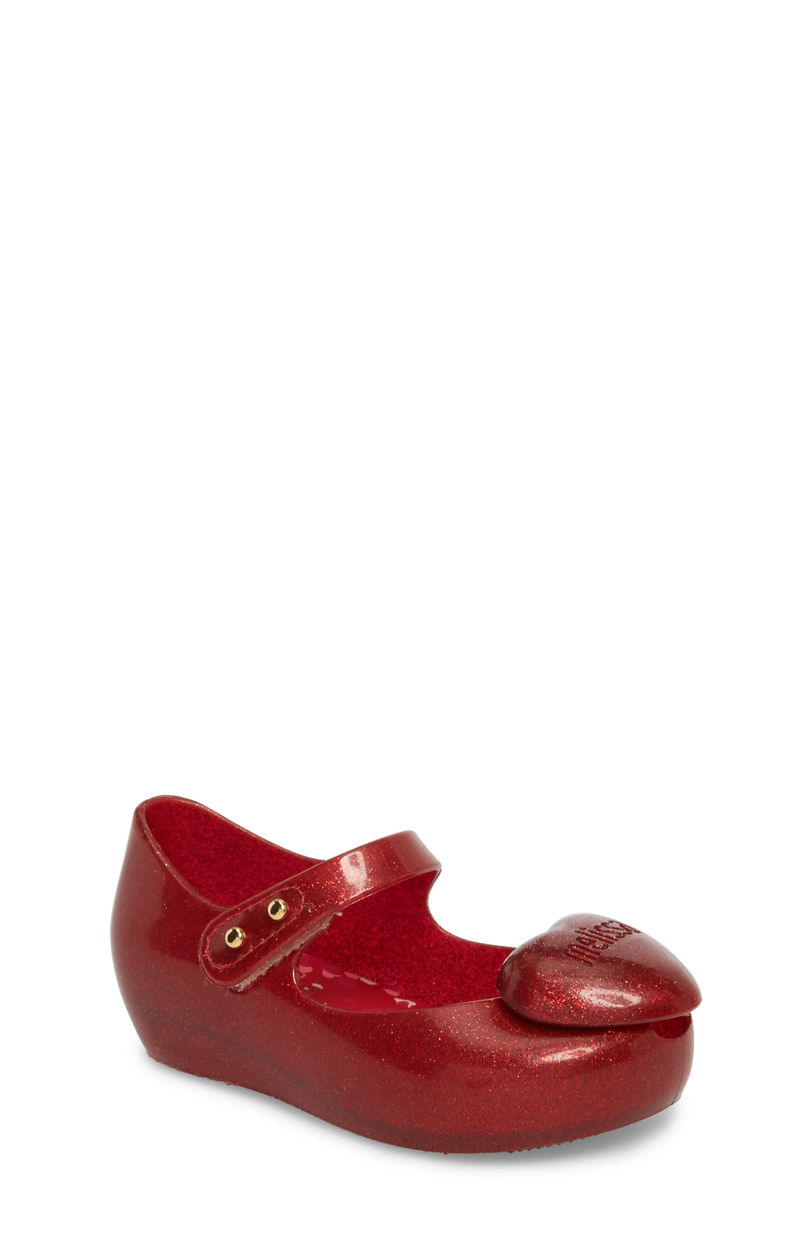 Ultragirl Heart Mary Jane Flat,                             Main thumbnail 1, color,                             Red Sparkle