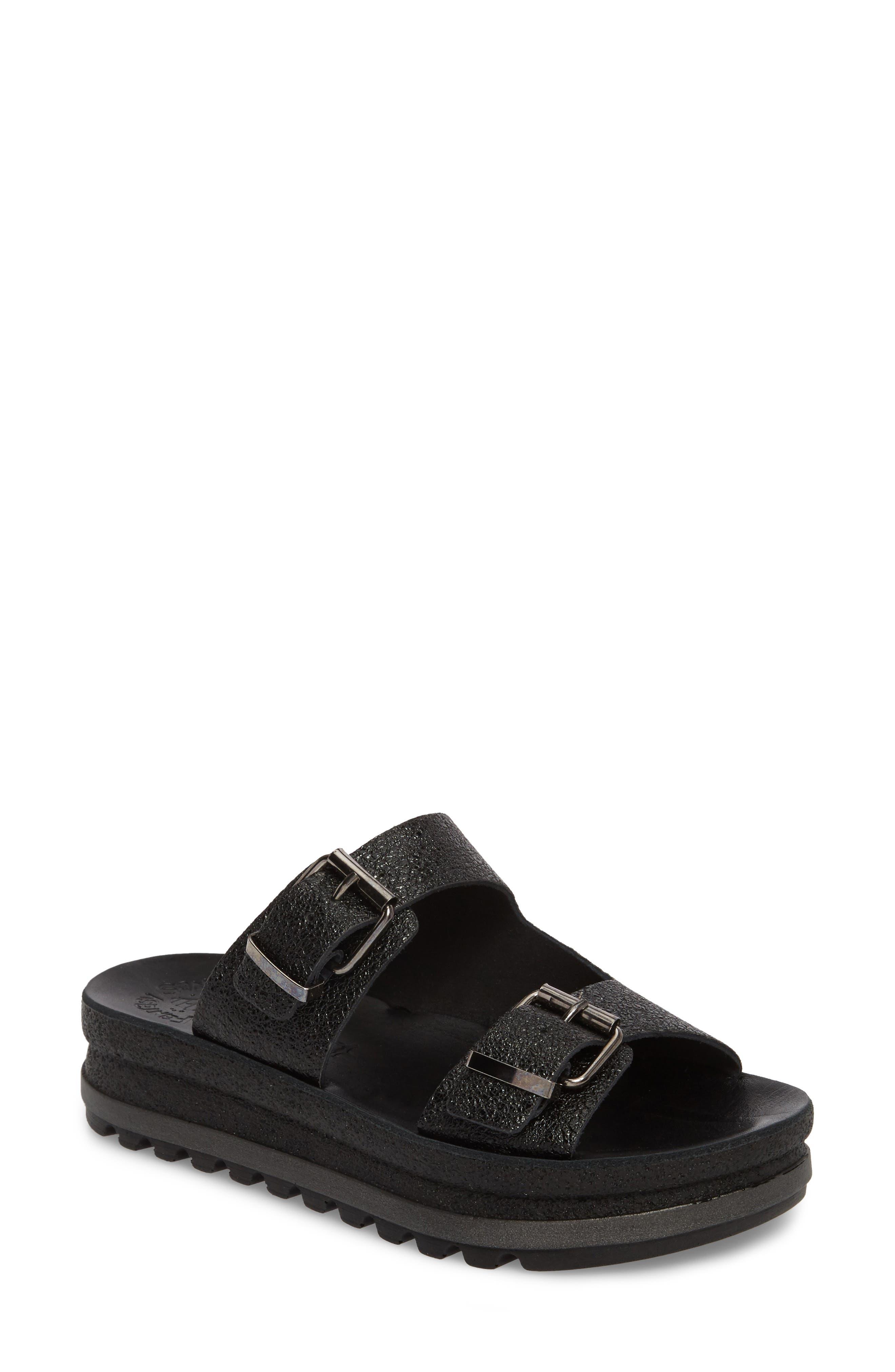 Melanie Platform Sandal,                             Main thumbnail 1, color,                             Black Spacey Leather
