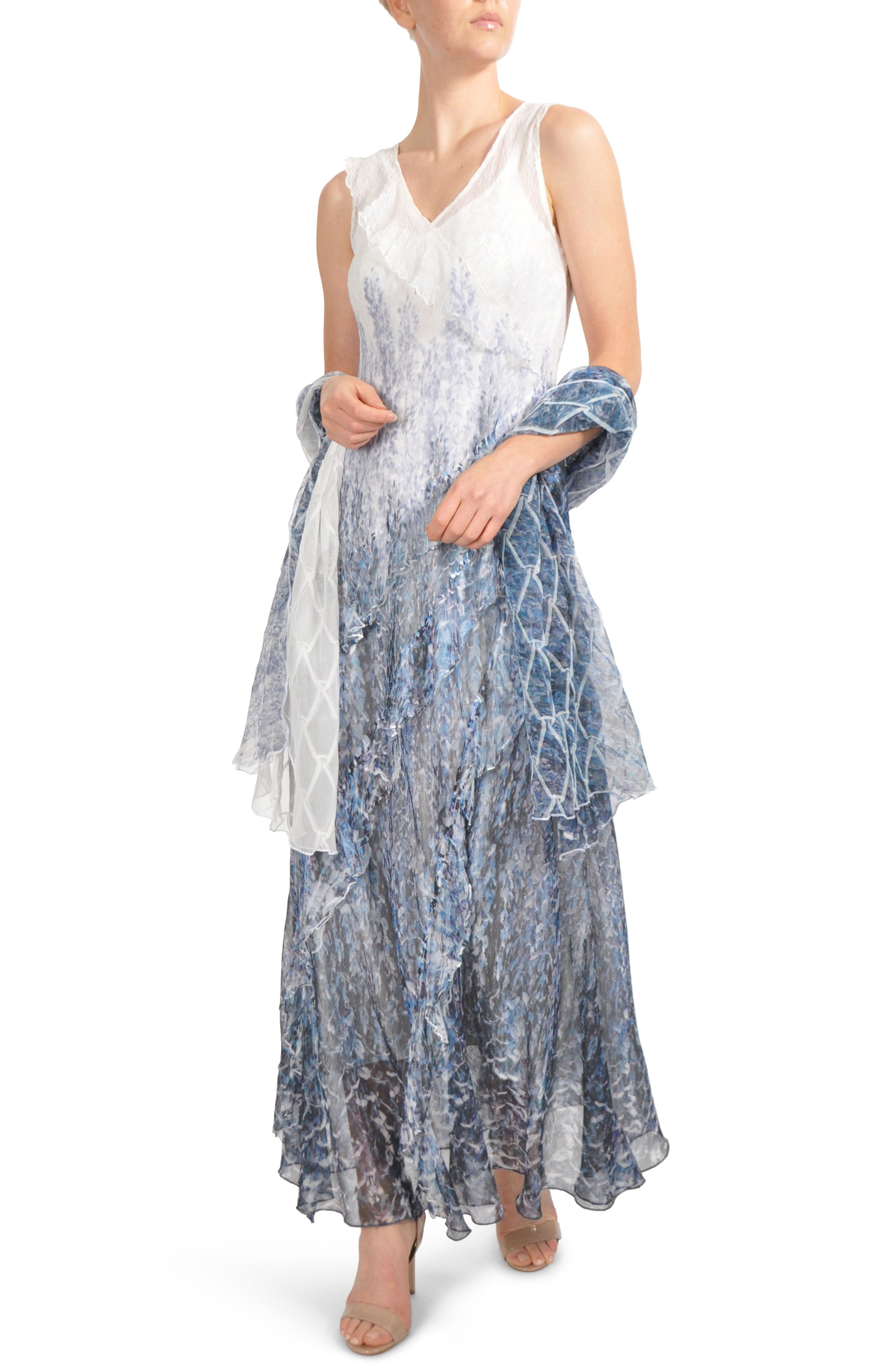 Ruffled Charmeuse & Chiffon Gown with Wrap,                             Main thumbnail 1, color,                             Lupine Fields