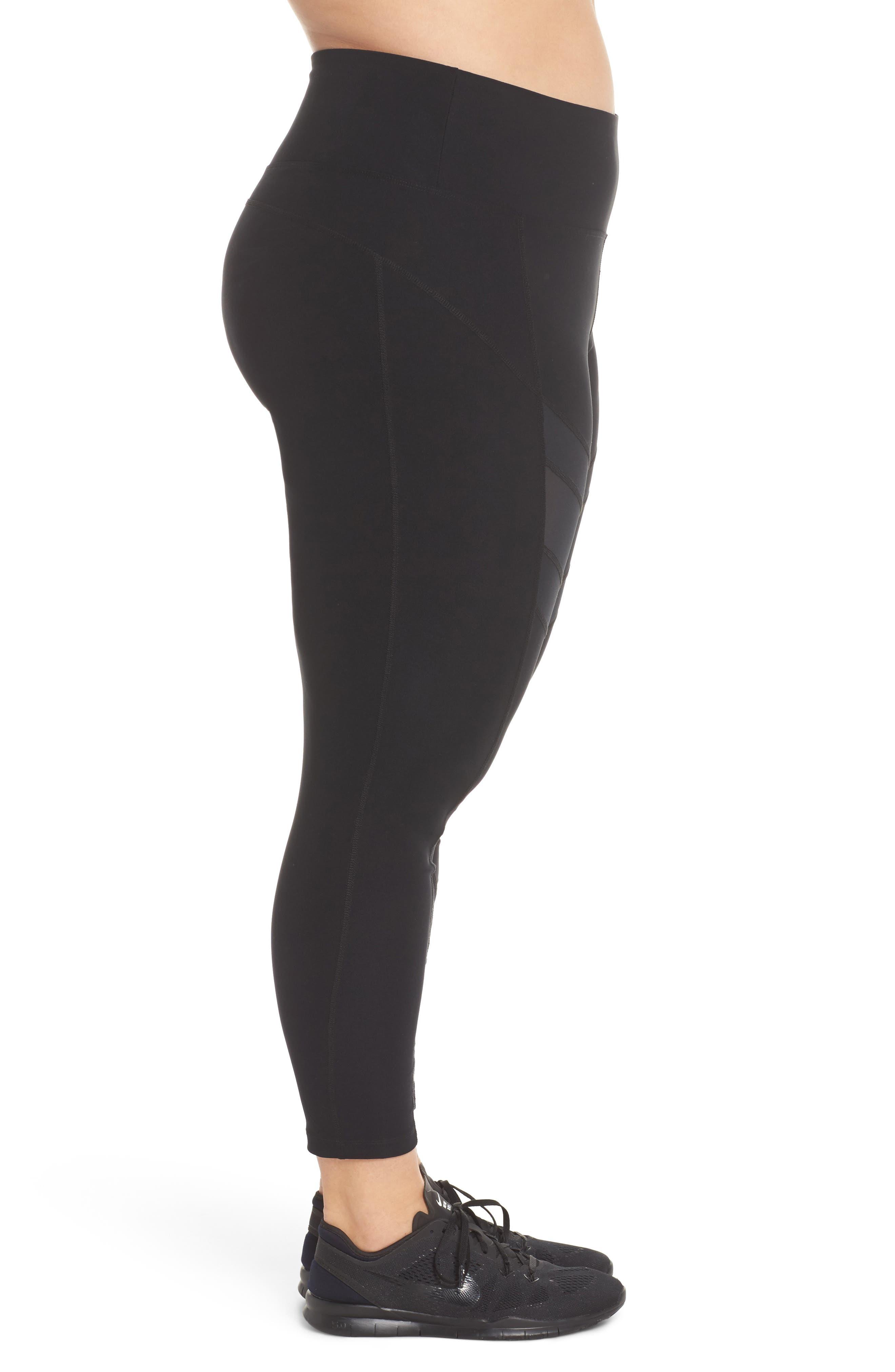 Marika High Waist Ankle Leggings,                             Alternate thumbnail 3, color,                             Black