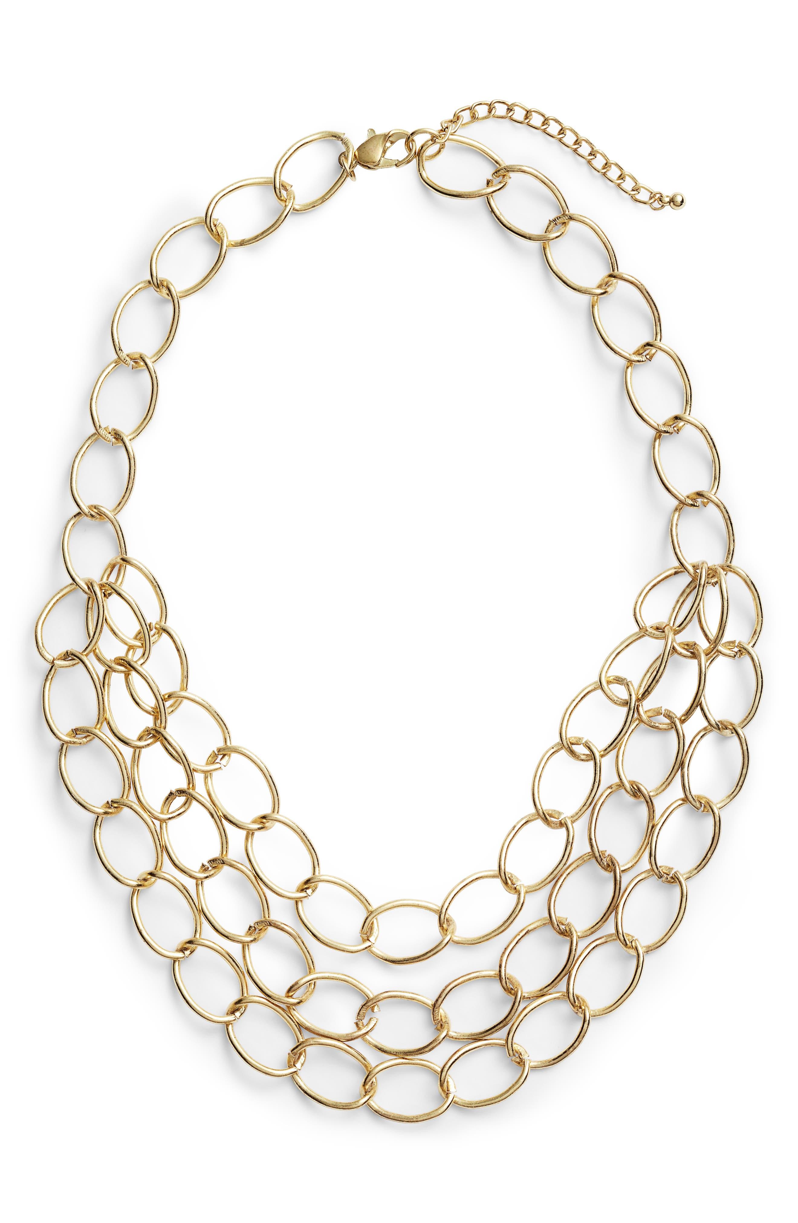 Grace Chain Link Statement Necklace,                             Main thumbnail 1, color,                             Gold