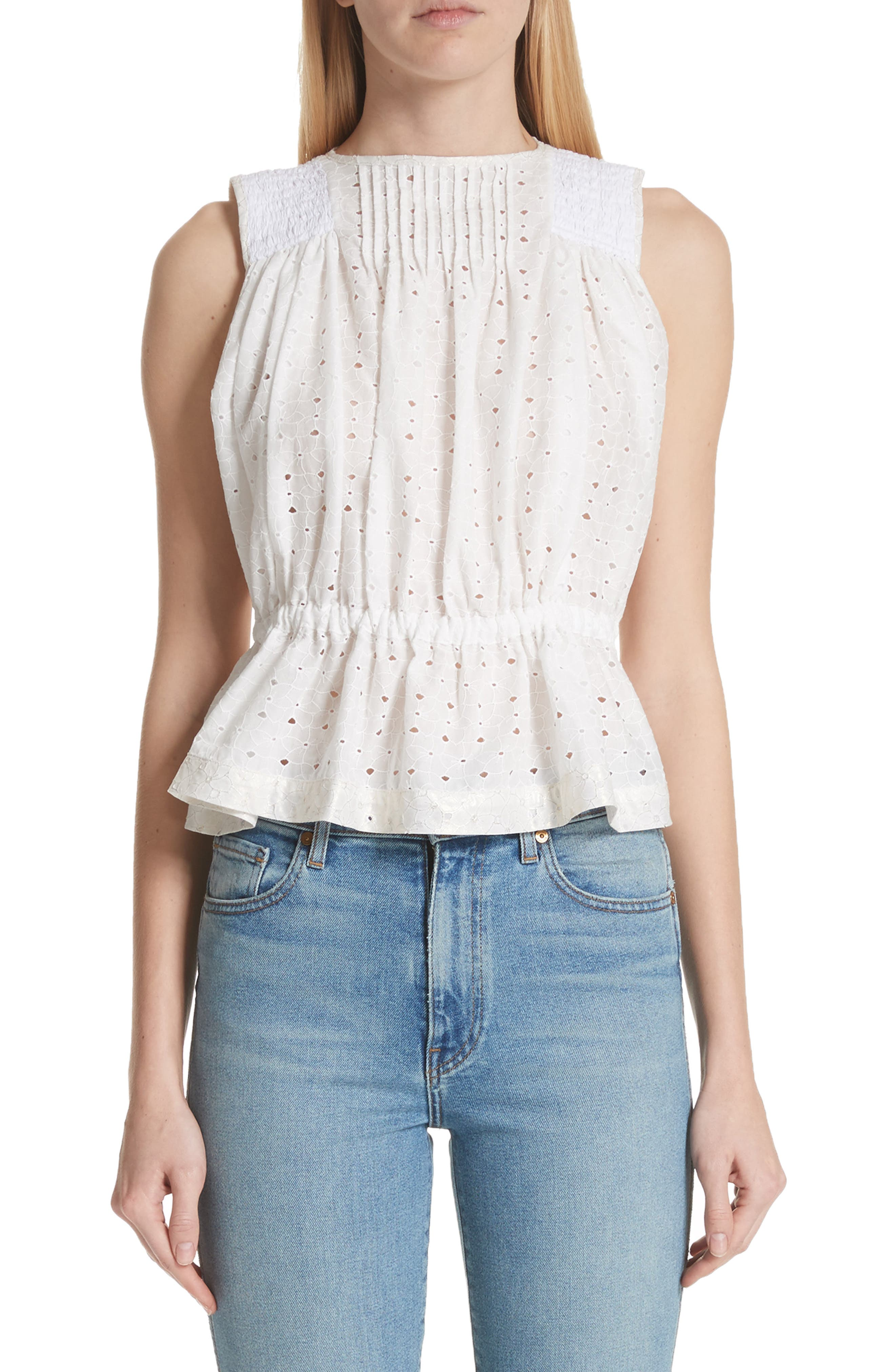 Cinch Waist Eyelet Top,                         Main,                         color, White X Gold