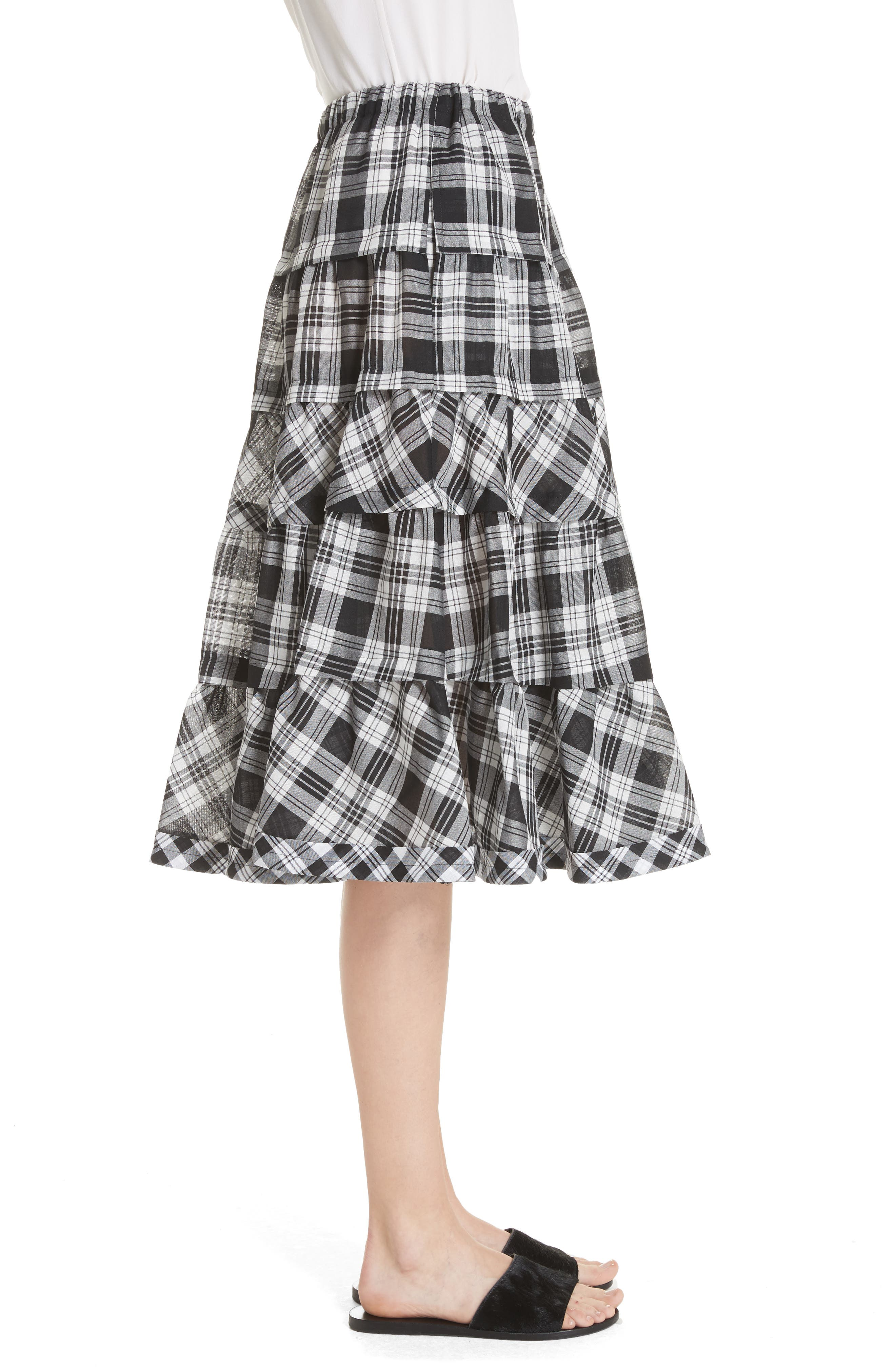 Tiered Plaid Skirt,                             Alternate thumbnail 3, color,                             Largexsmall