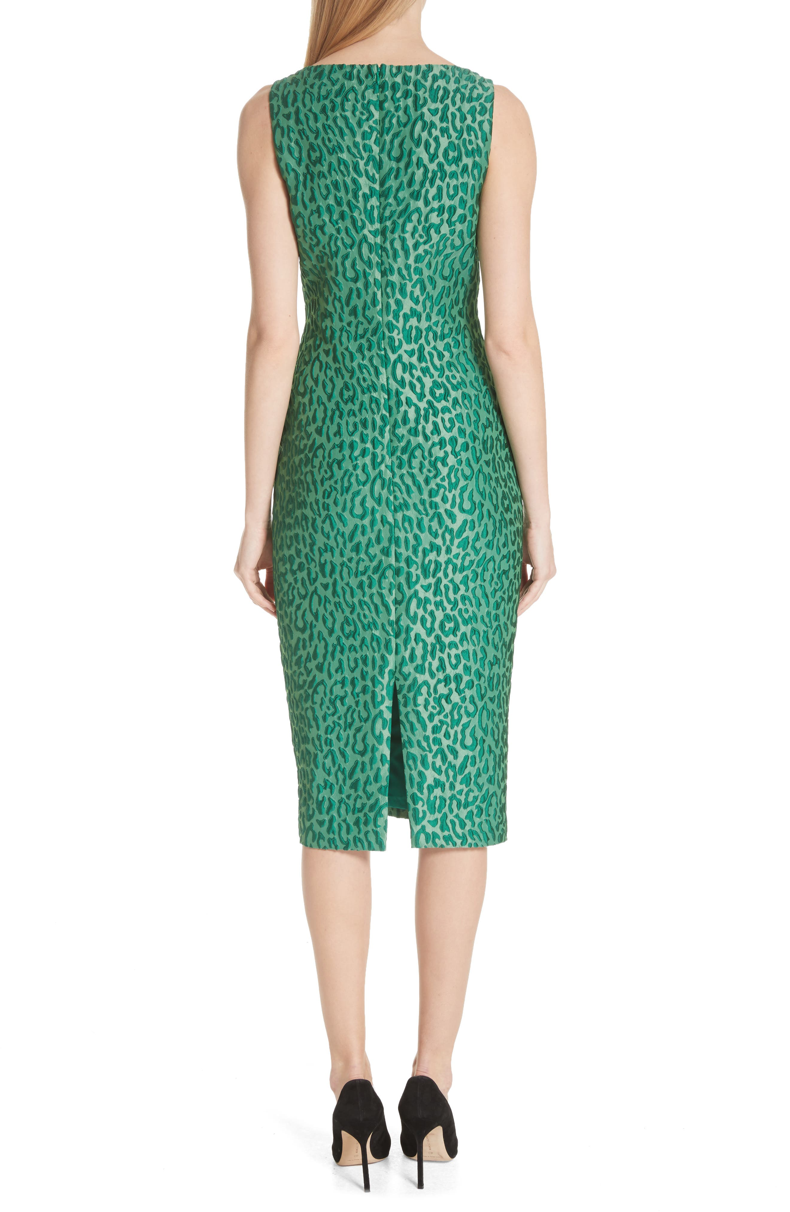 Leopard Jacquard Sheath Dress,                             Alternate thumbnail 2, color,                             Green