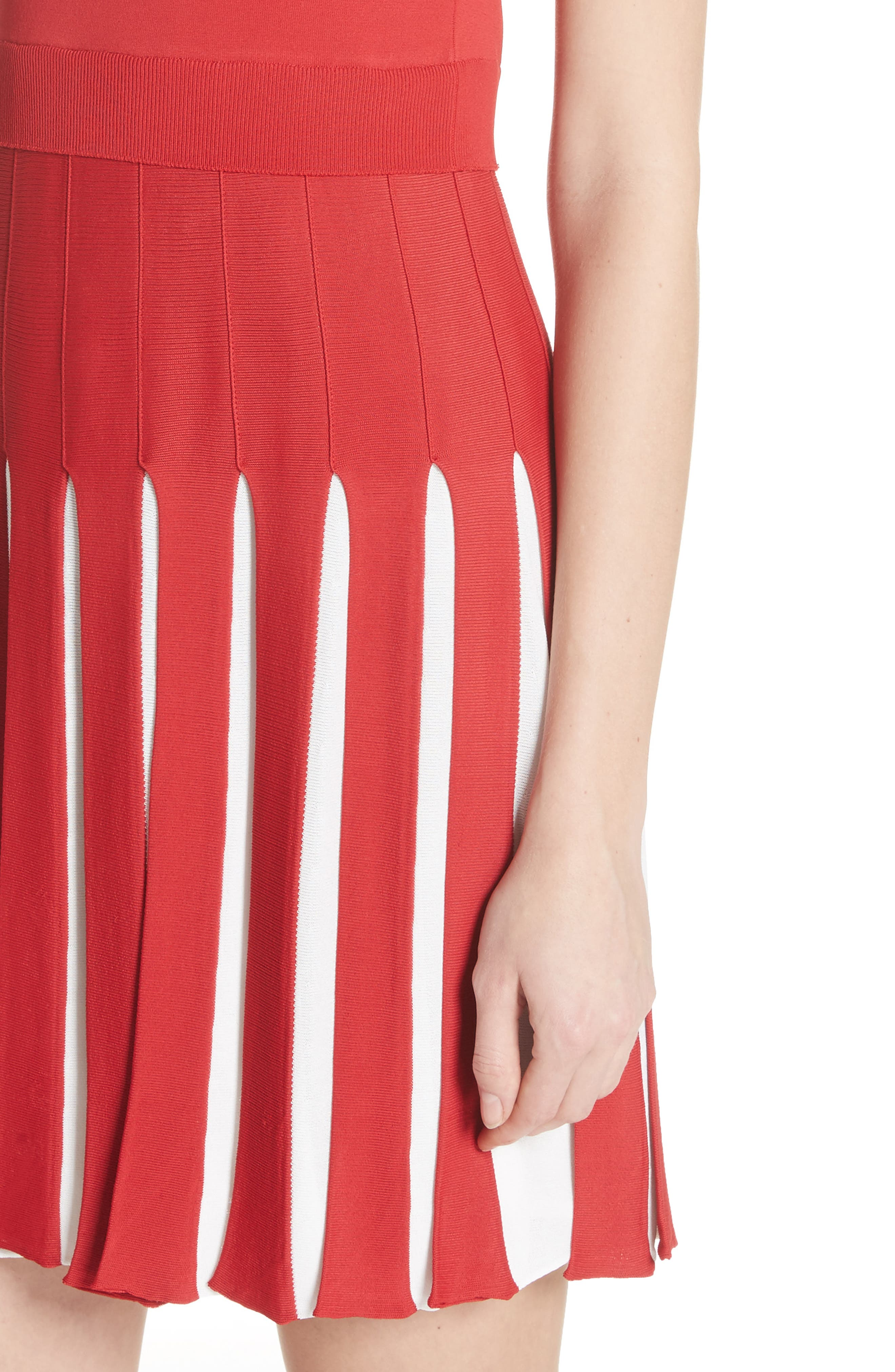 Bicolor Pleated Minidress,                             Alternate thumbnail 4, color,                             Red