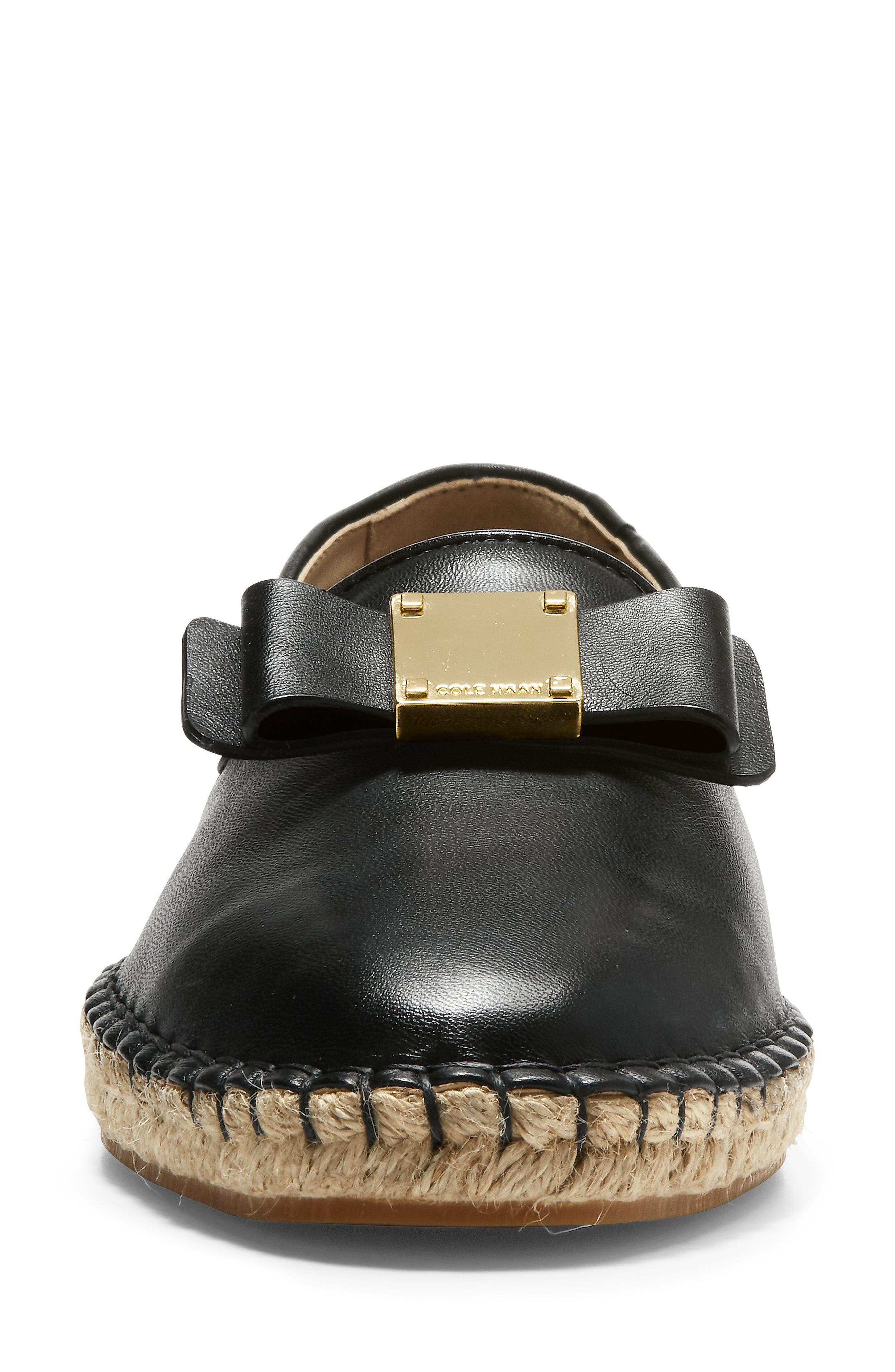 Tali Bow Espadrille Flat,                             Alternate thumbnail 4, color,                             Black Leather