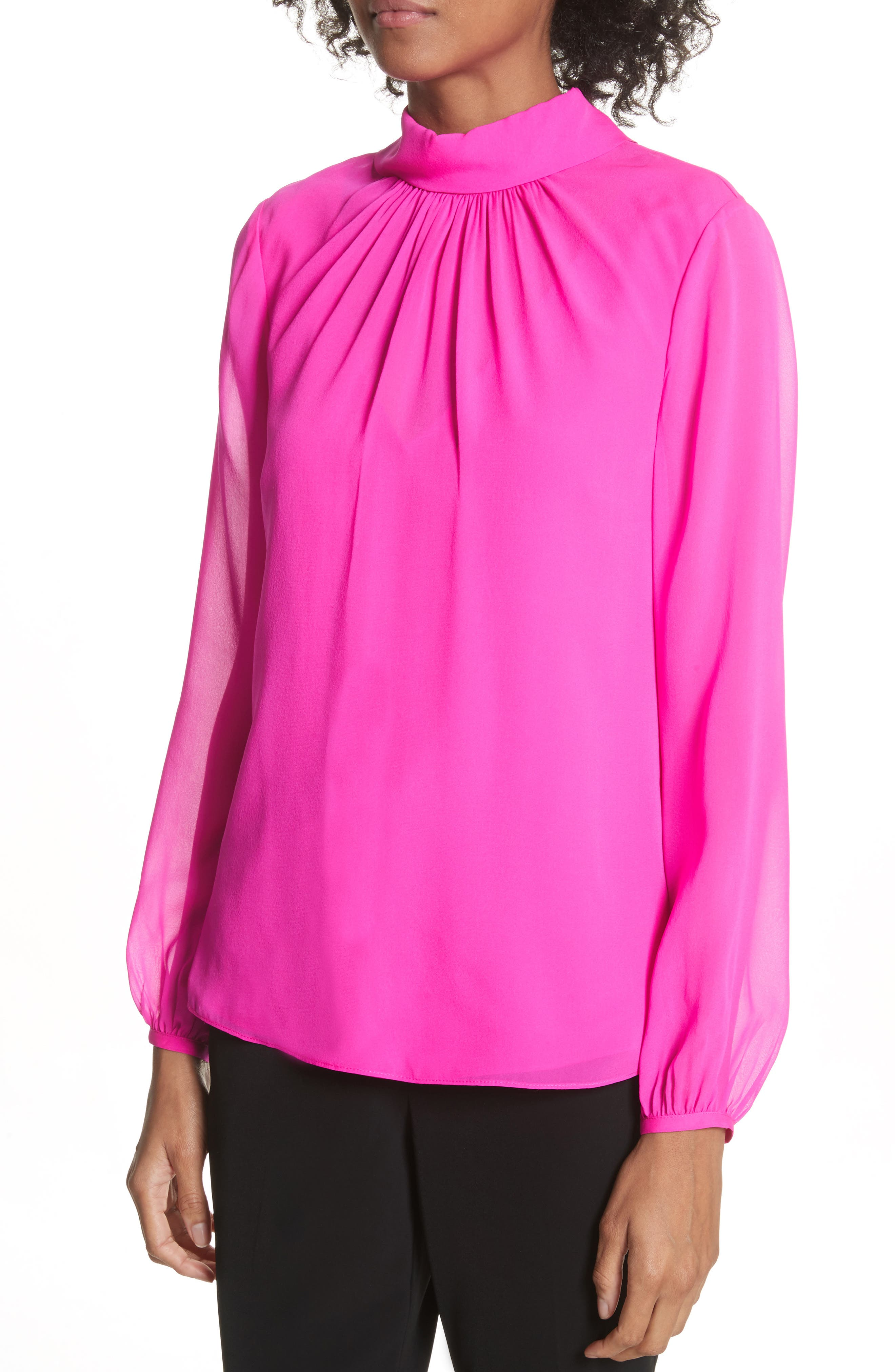 Ruched Silk High Neck Blouse,                             Alternate thumbnail 4, color,                             Bright Pink