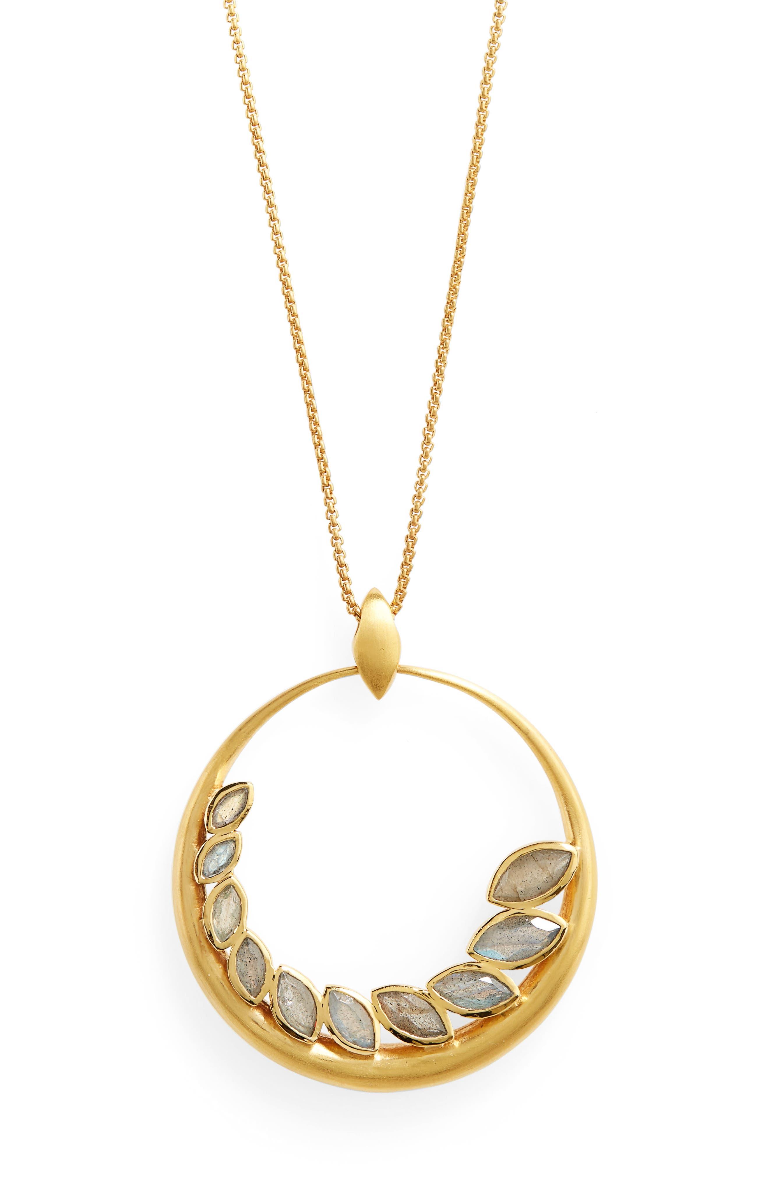 Kamala Pendant Necklace,                             Alternate thumbnail 2, color,                             Labradorite/ Gold