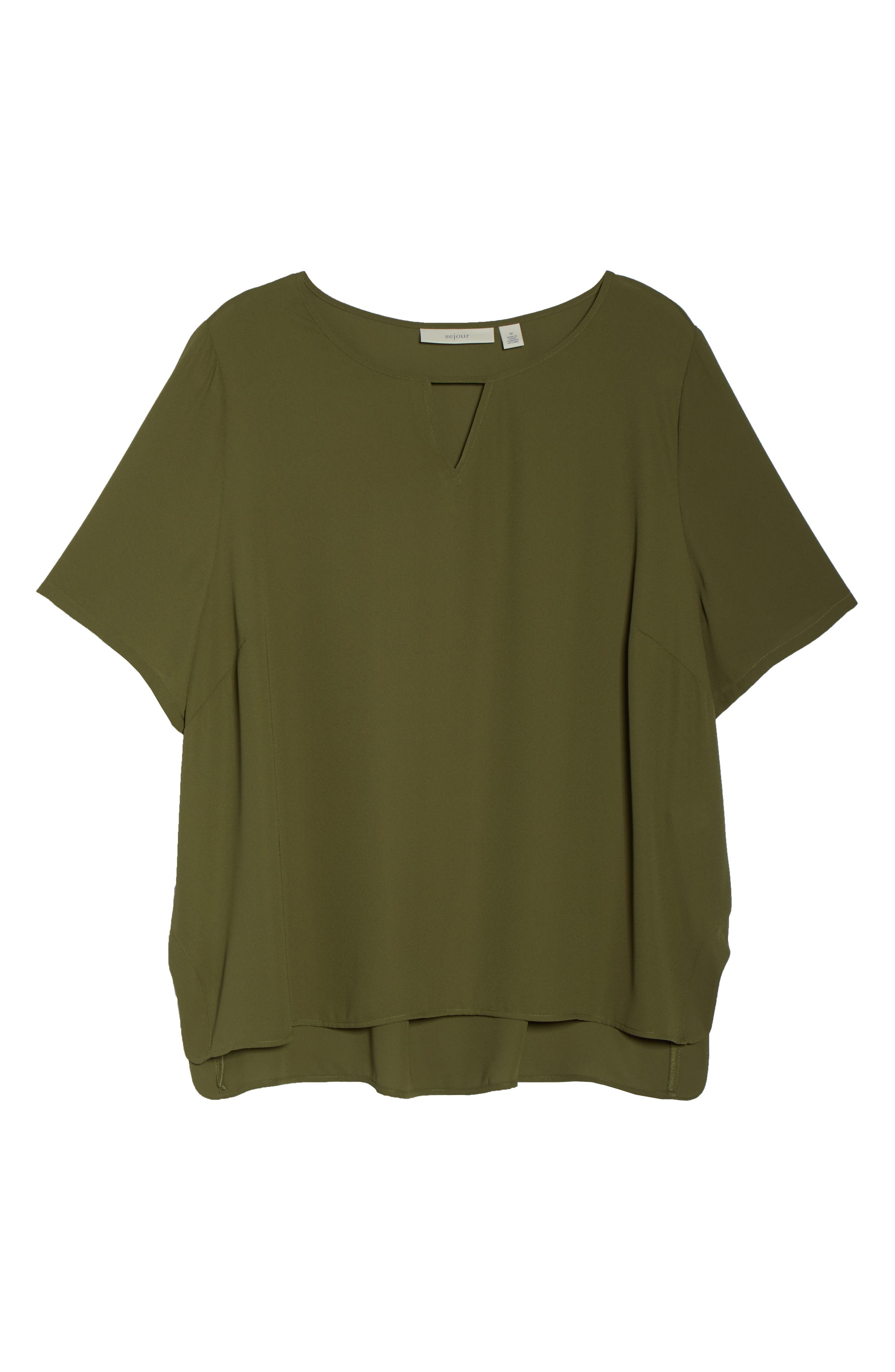 Curved High/Low Top,                             Alternate thumbnail 7, color,                             Olive Moss