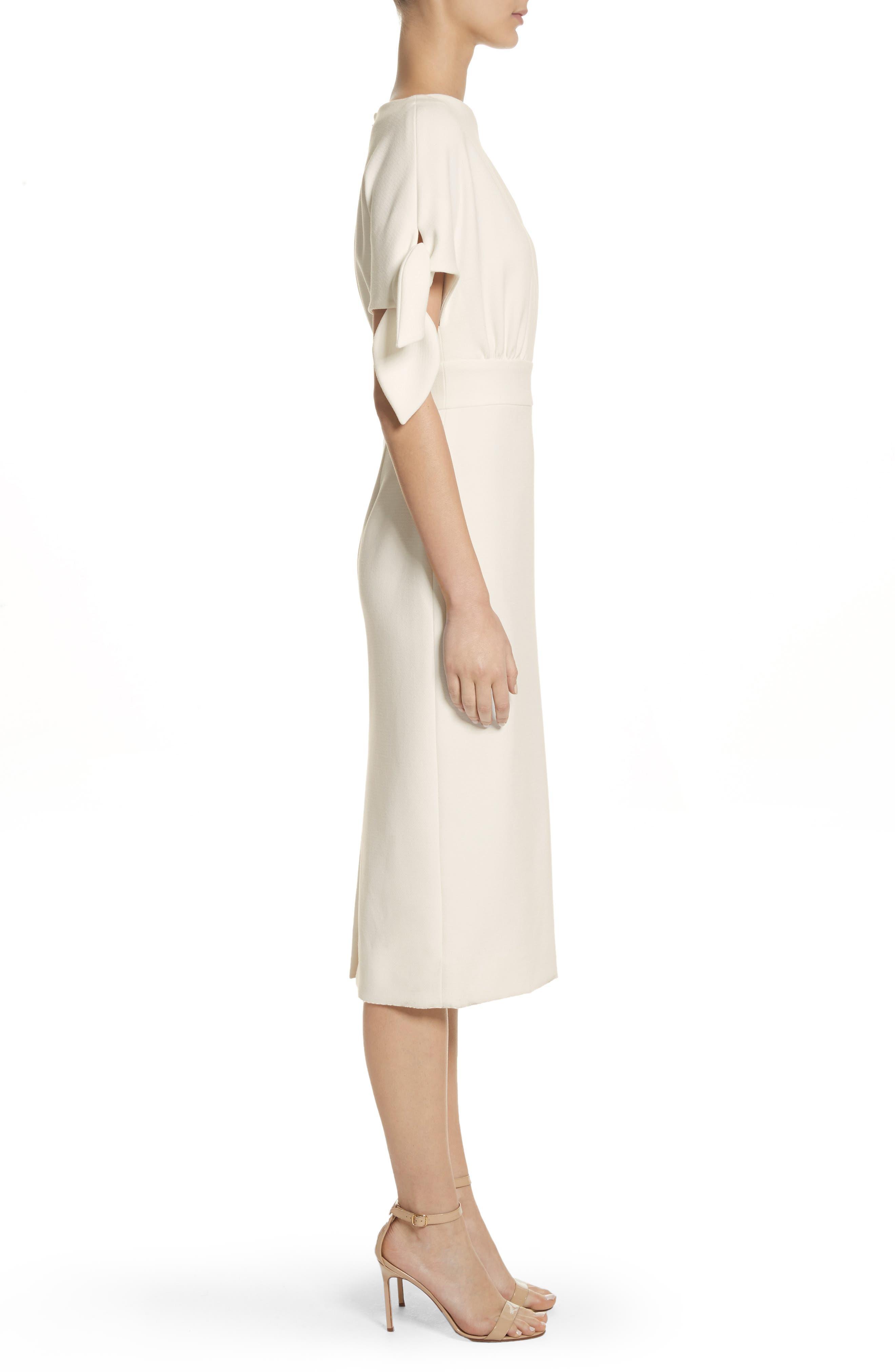 Tie Sleeve Wool Blend Sheath Dress,                             Alternate thumbnail 4, color,                             White
